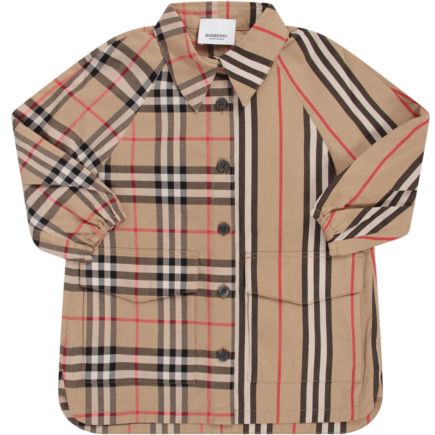 Burberry Biege Babygirl Dress With Iconic Check And Stripe