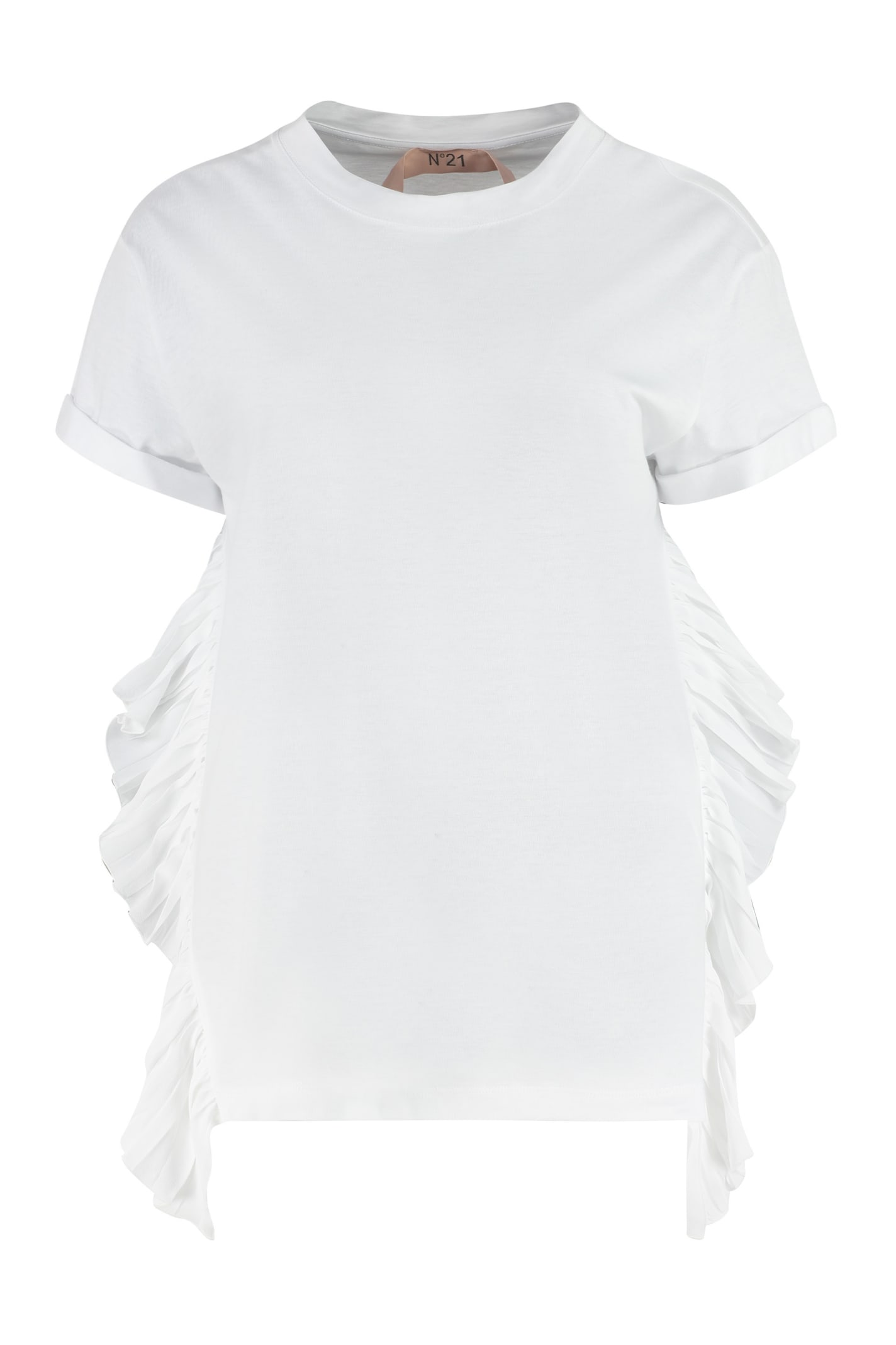 N°21 Cottons PLEATED RUFFLE DETAIL T-SHIRT