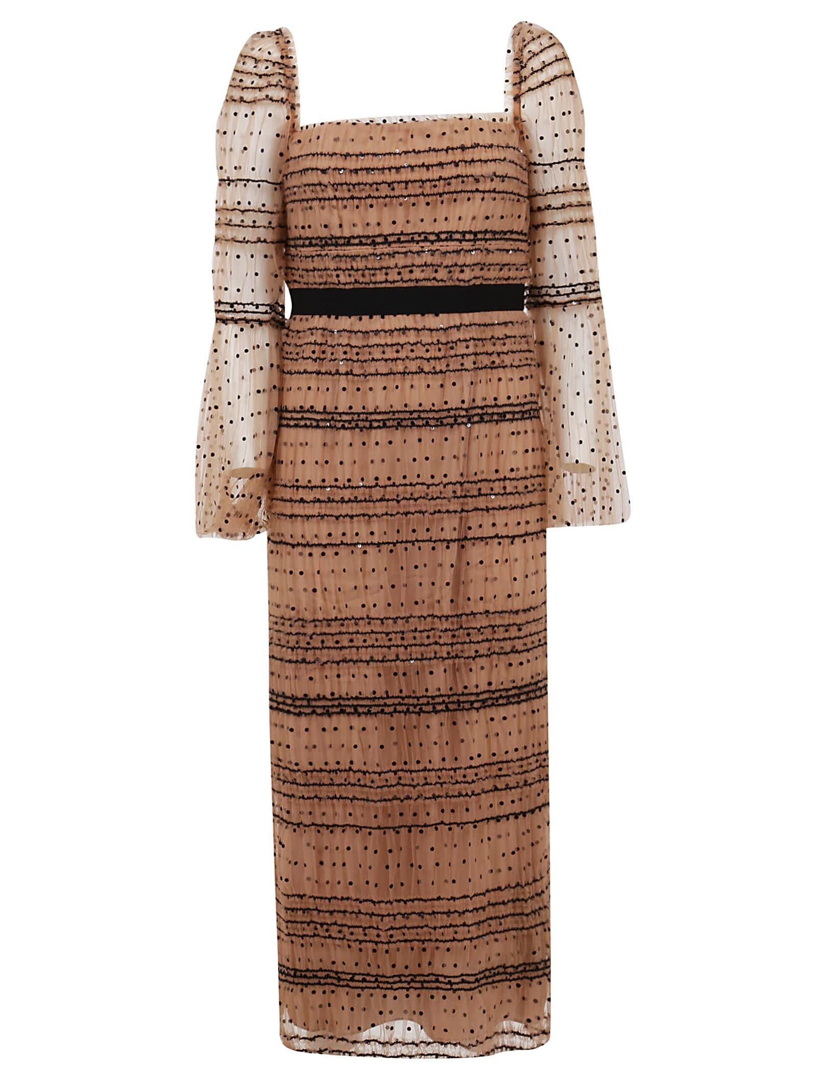 Buy self-portrait Shirred Polka Dot Midi Dress online, shop self-portrait with free shipping