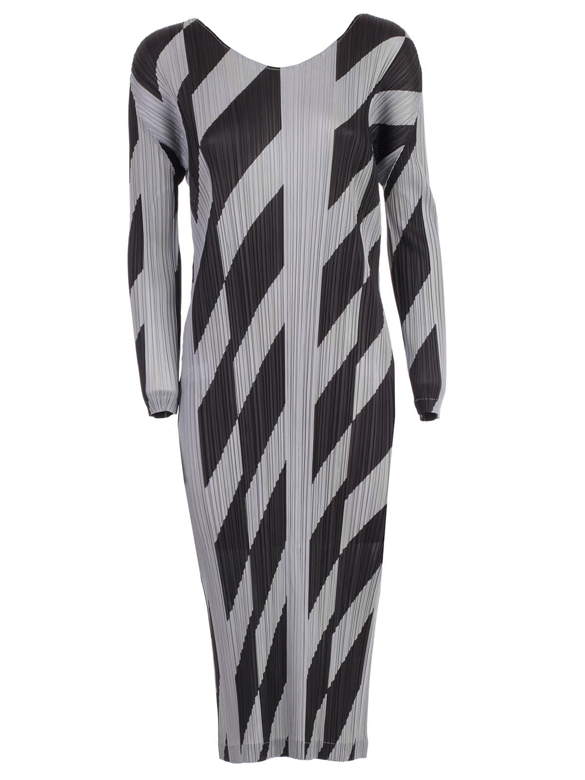 Pleats Please Issey Miyake Dress L & s Crew Neck Diagonal Lines