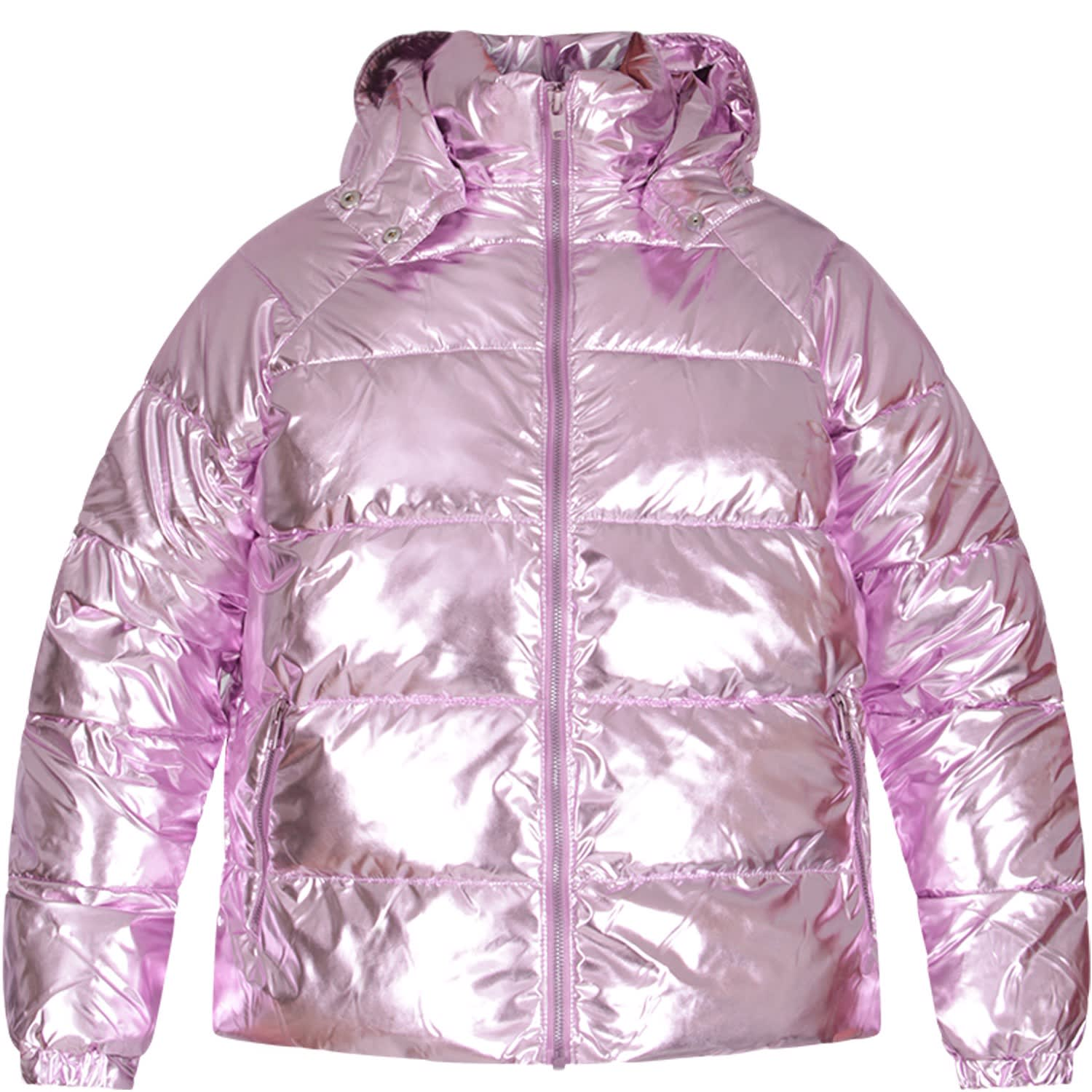 Color: Lilac Metallized lilac padding jacket with removible hood, elasticized cuffs, side zipped pockets and zip closure, on the front. 100% Recycled polyester. Machine wash at 30°C.