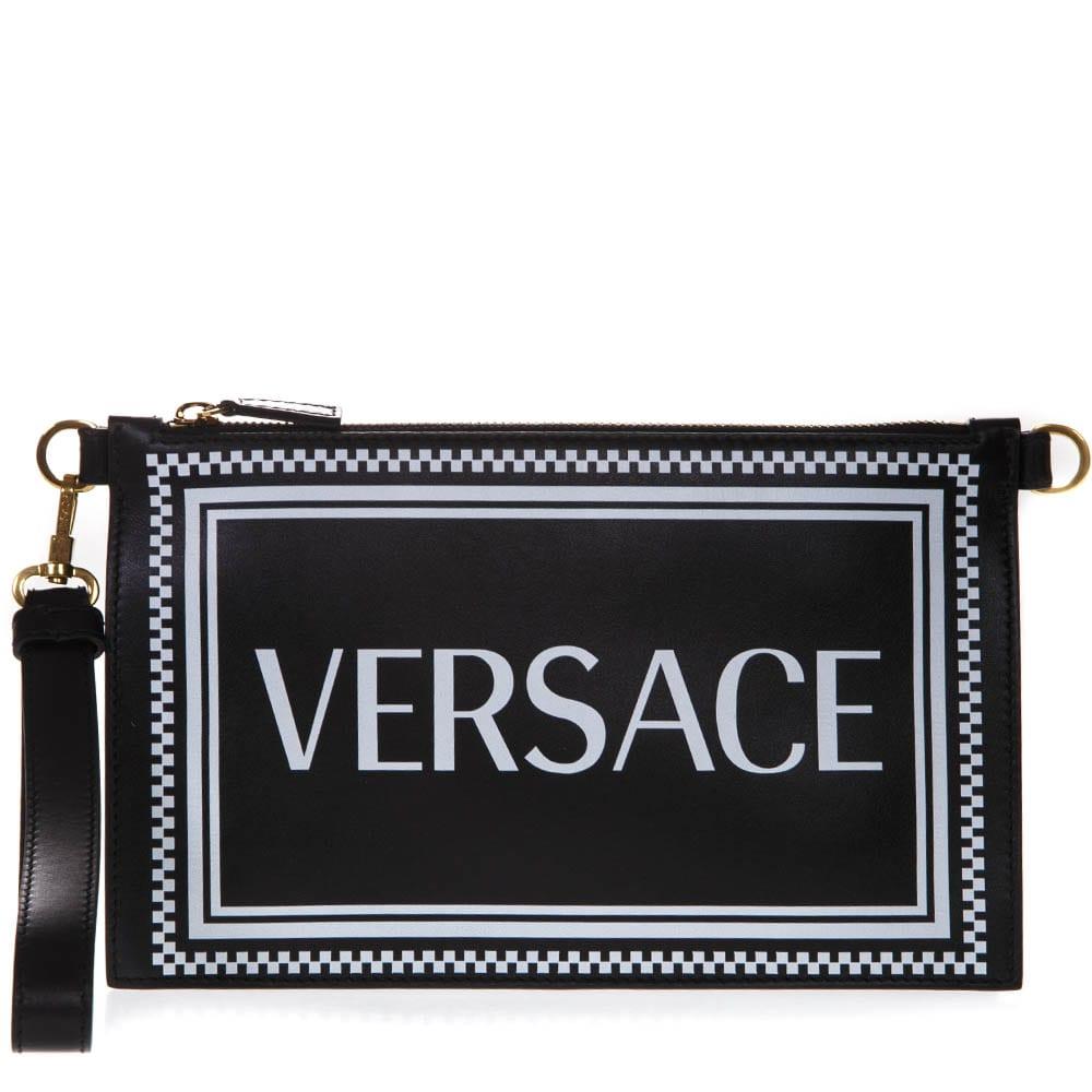 79c5b4b824 Versace Black Leather Clutch With Logo