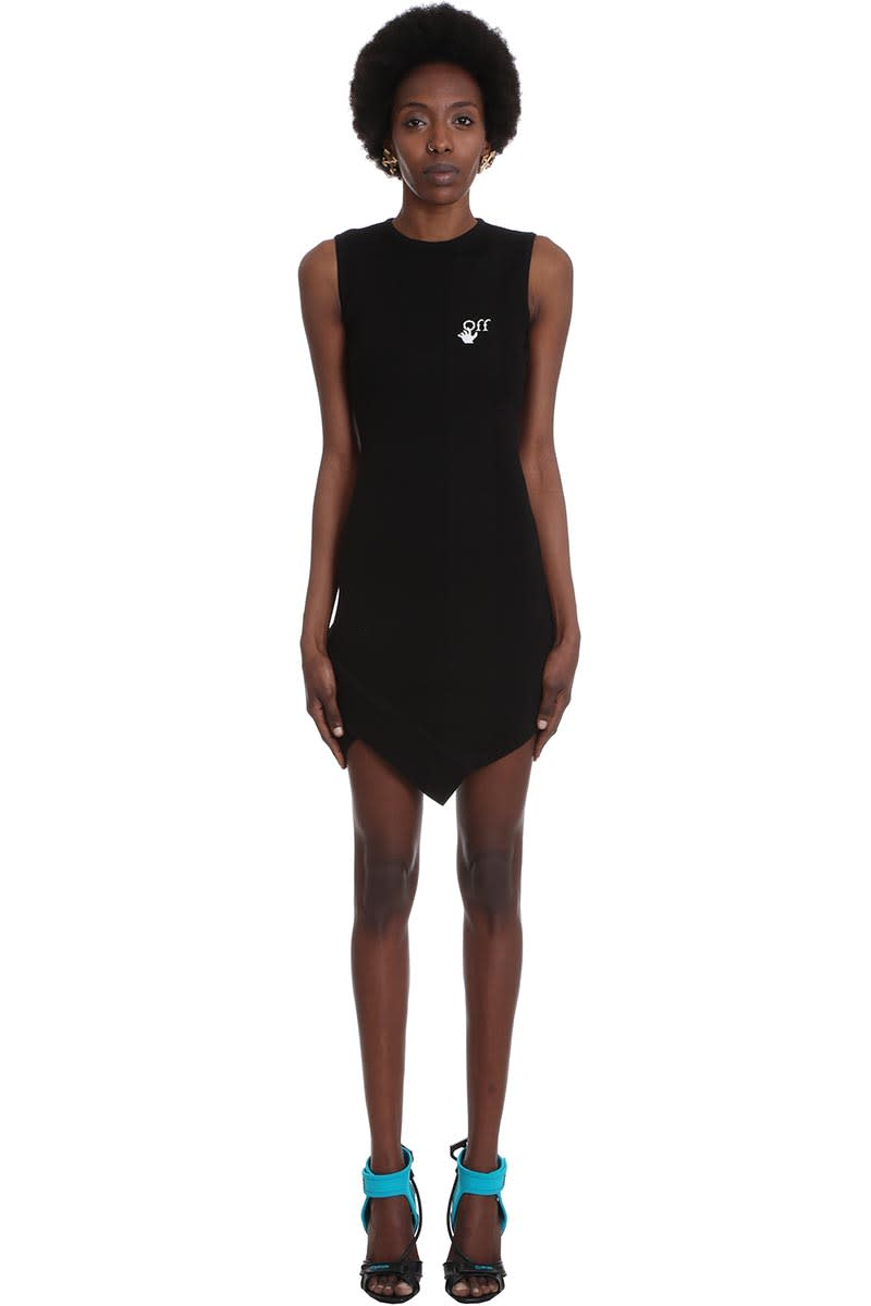 Buy Off-White Basic Mini Dres Dress In Black Viscose online, shop Off-White with free shipping