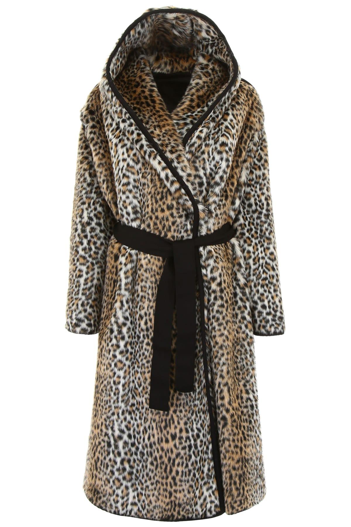 Philosophy di Lorenzo Serafini Leopard Printed Faux Fur Coat