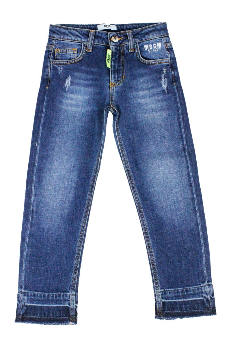Msgm DENIM TROUSERS WITH BREAKS AND WRITING