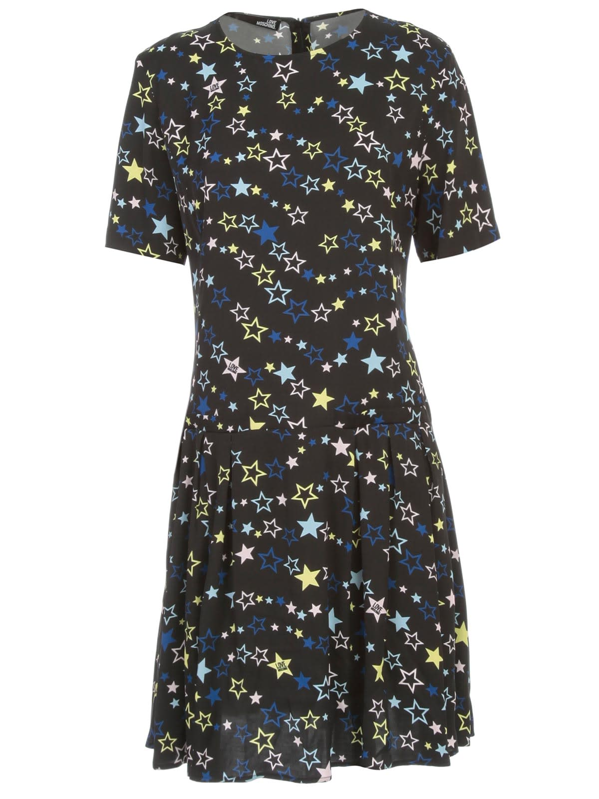 Buy Love Moschino Dress S/s Crew Neck Stars Printing W/flounce online, shop Love Moschino with free shipping