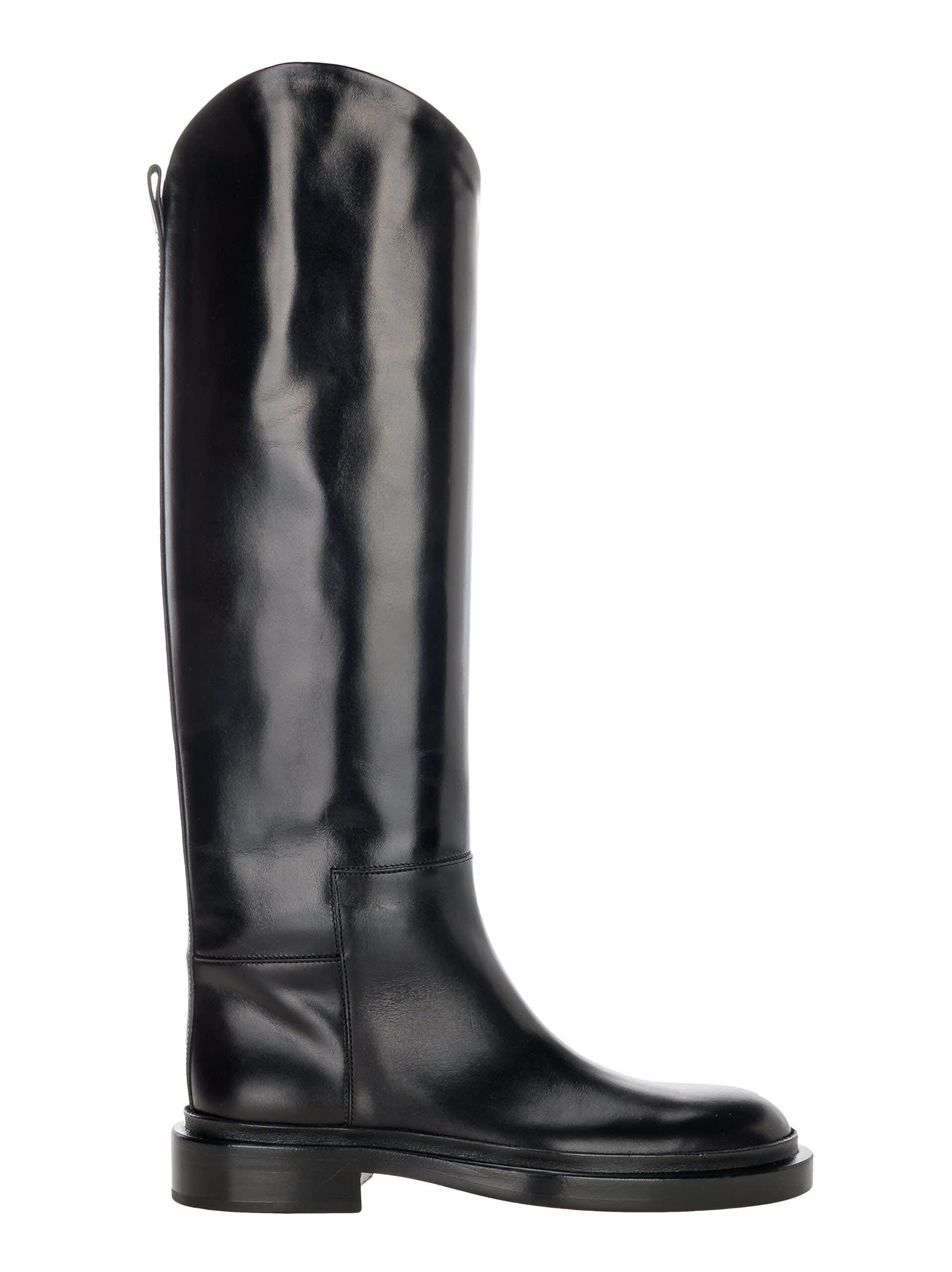 Buy Jil Sander High Leather Boots online, shop Jil Sander shoes with free shipping
