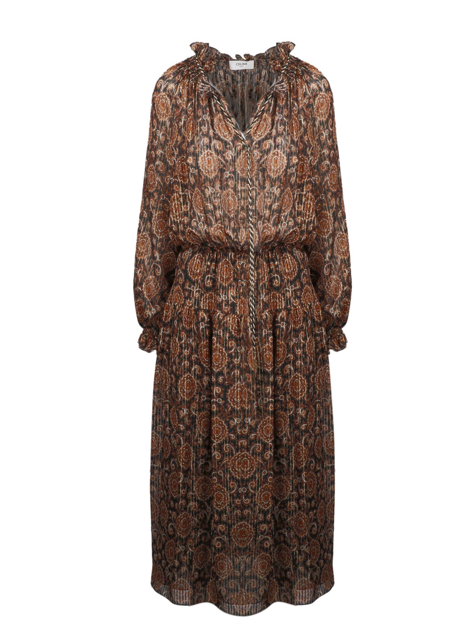 Buy Celine Printed Silk Lamé Folk Dress online, shop Celine with free shipping