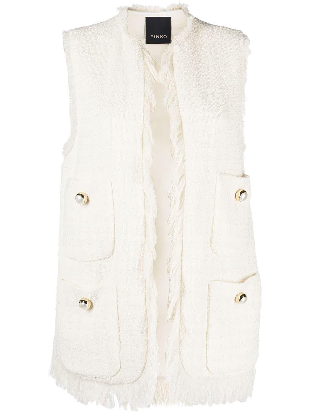 Pinko Coats TWEED VEST WITH FRINGES