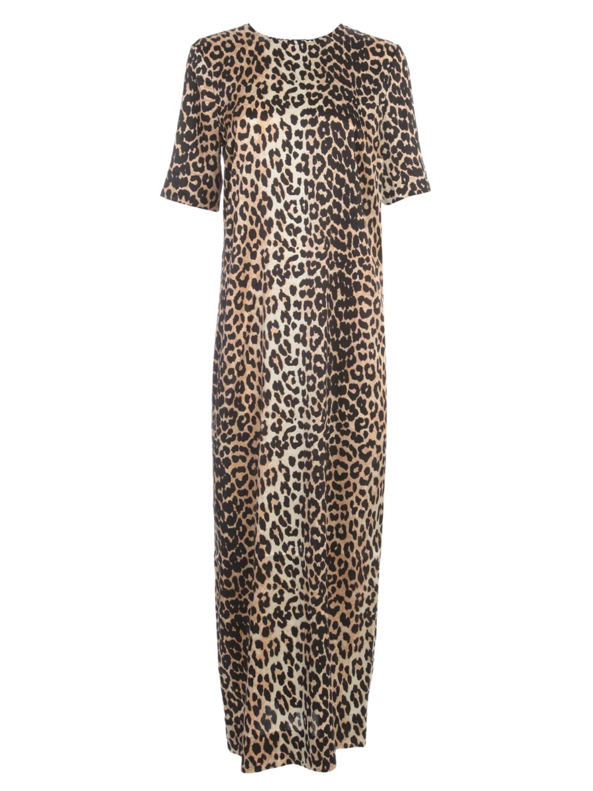 Buy Ganni Silk Stretch Satin Maxi Dress 3/4s Crew Neck Animalier online, shop Ganni with free shipping