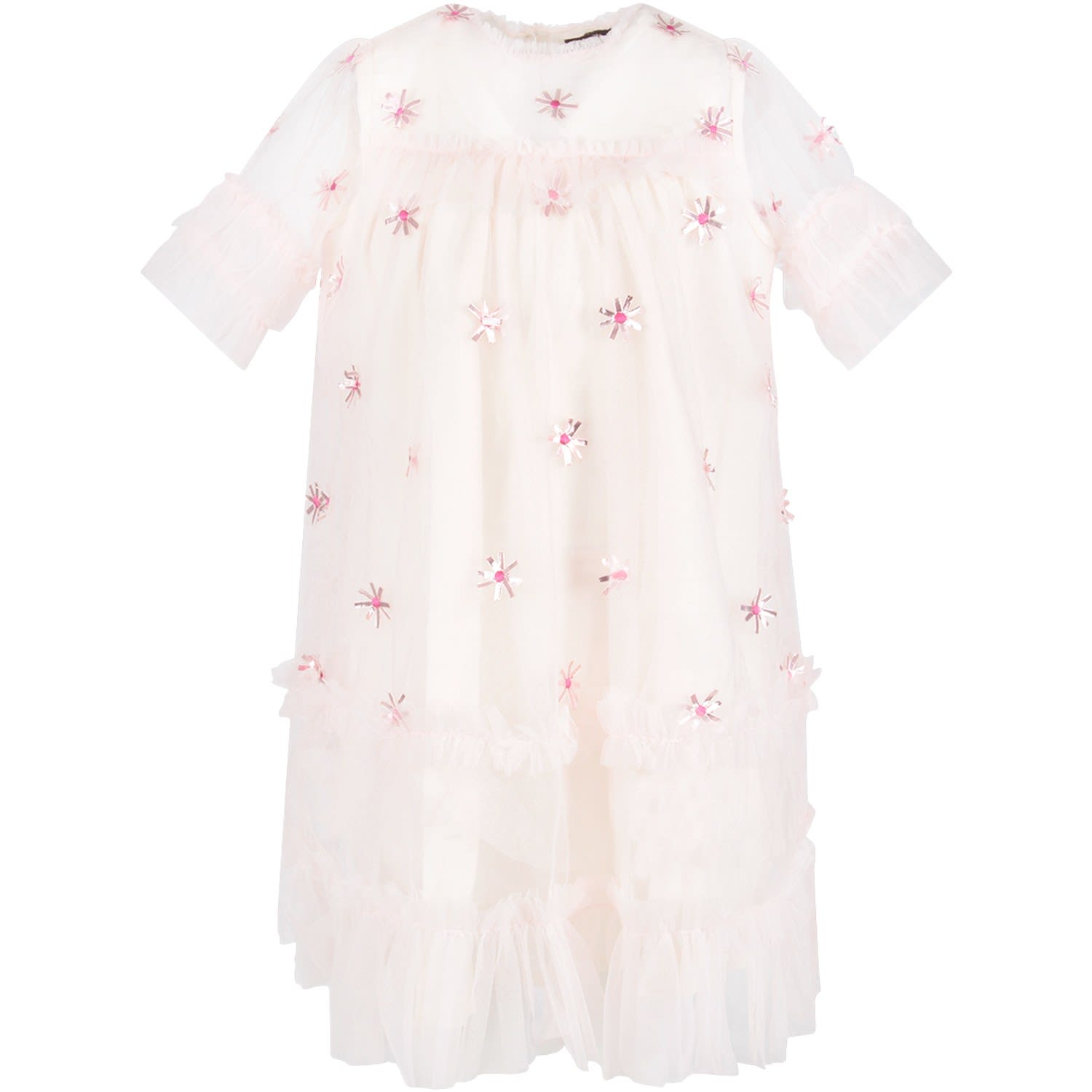 Velveteen Pink laylani Dress With Applied Flowers