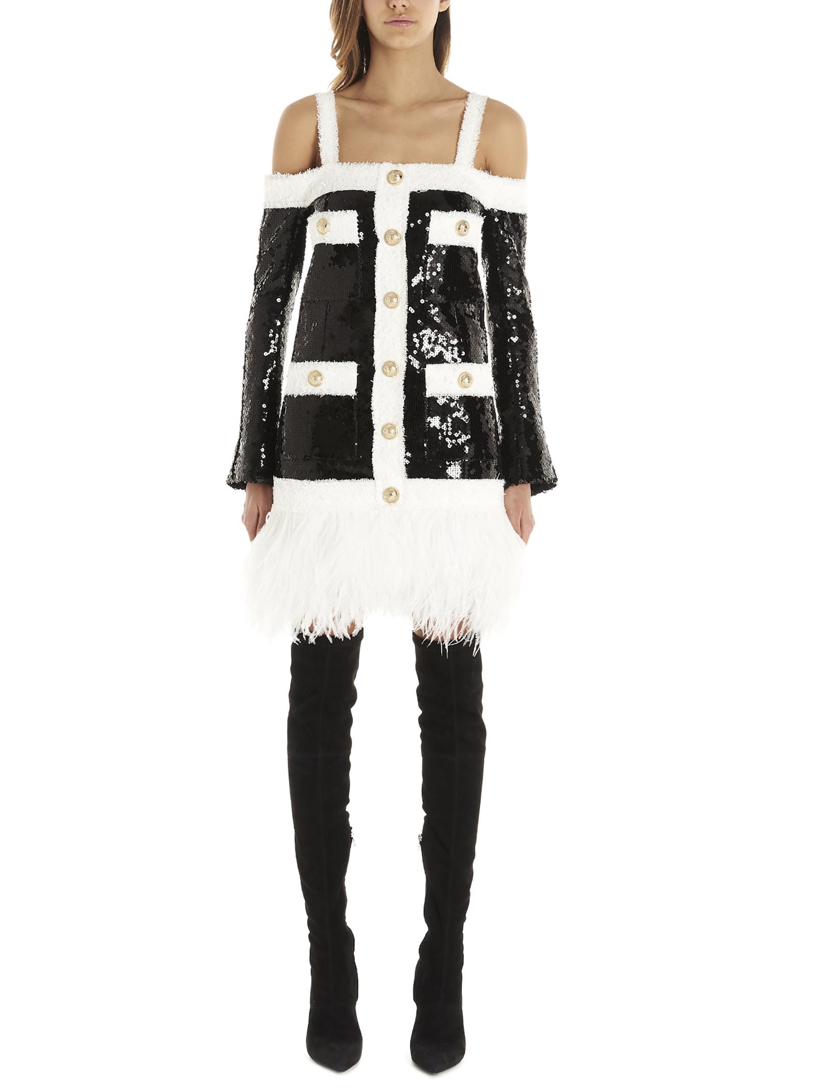 Buy Balmain Sequins Tweed Dress online, shop Balmain with free shipping