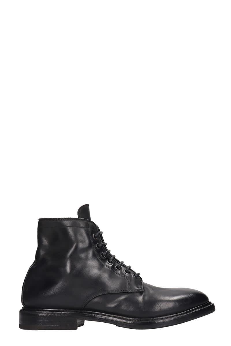 Premiata Combat Boots In Black Leather