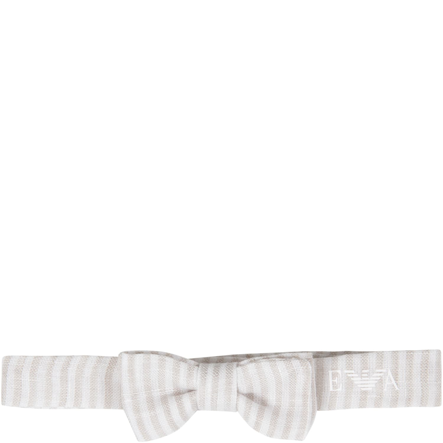 Beige And White Bow-tie For Baby Boy