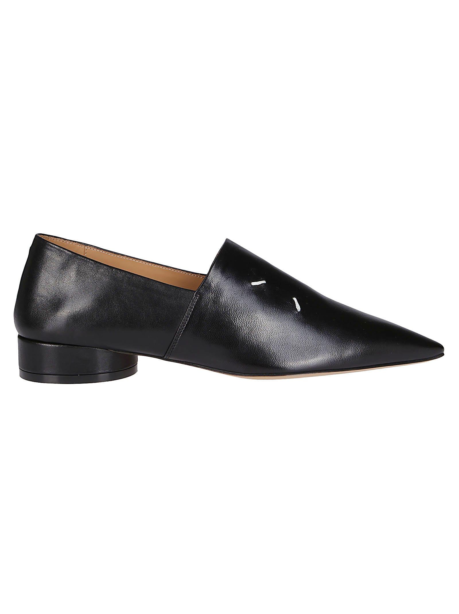 Buy Maison Margiela Black Leather Loafers online, shop Maison Margiela shoes with free shipping