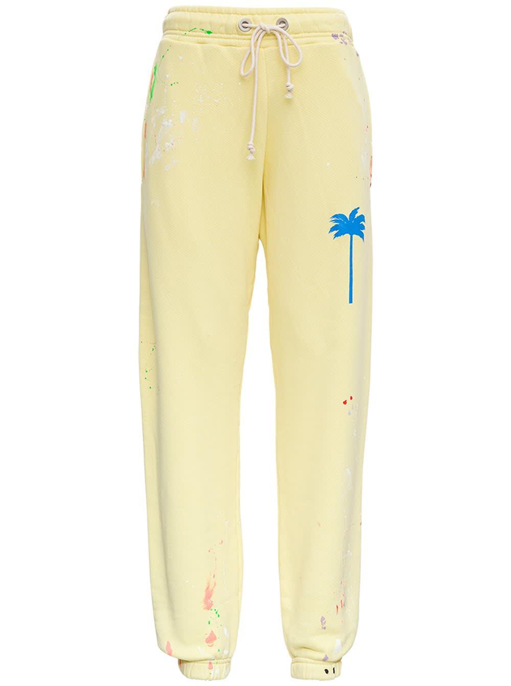 Palm Angels Pants PXP YELLOW COTTON JOGGER