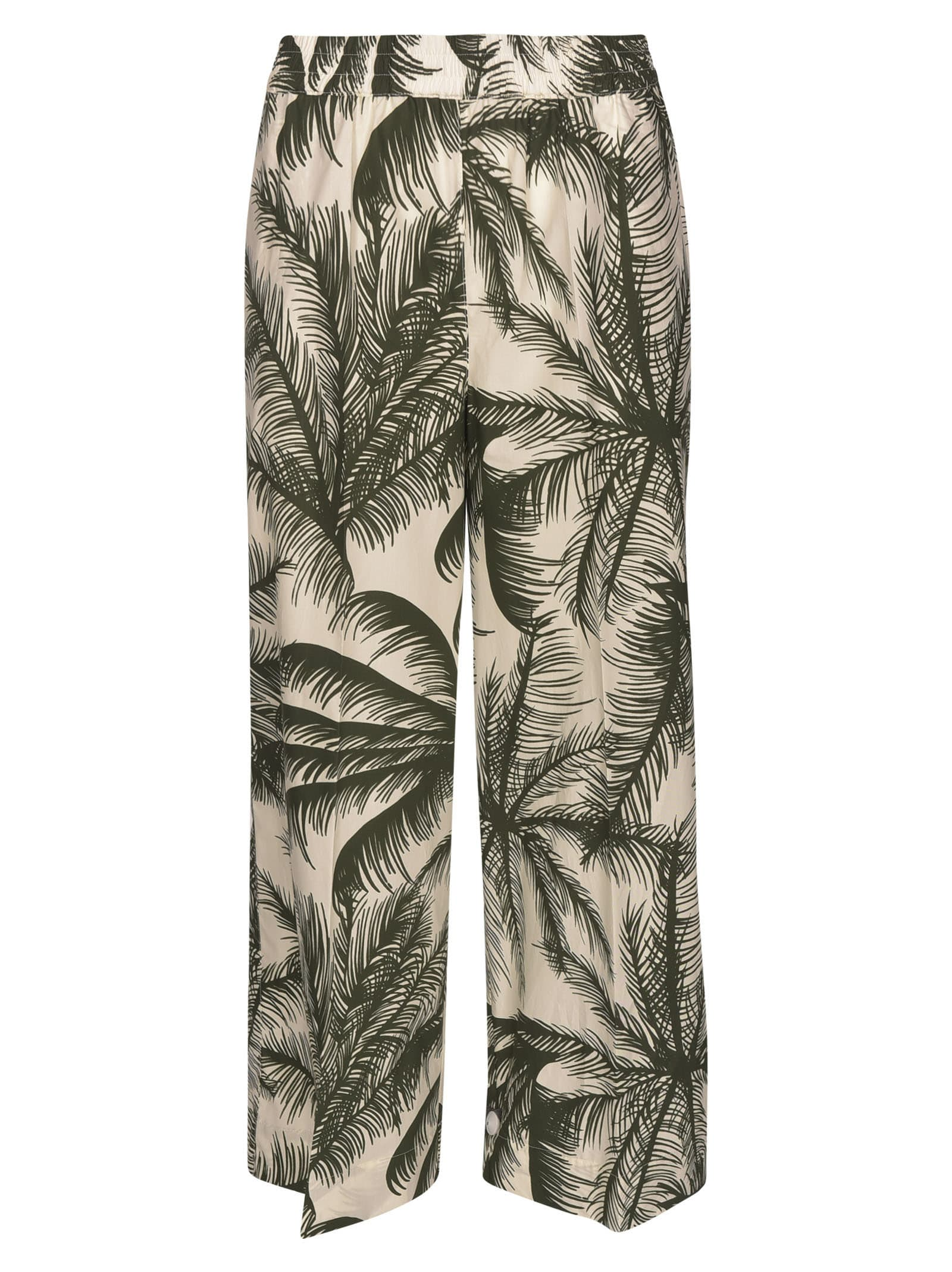 P.a.r.o.s.h. Cottons STRAIGHT LEG PALM PRINT CROPPED TROUSERS