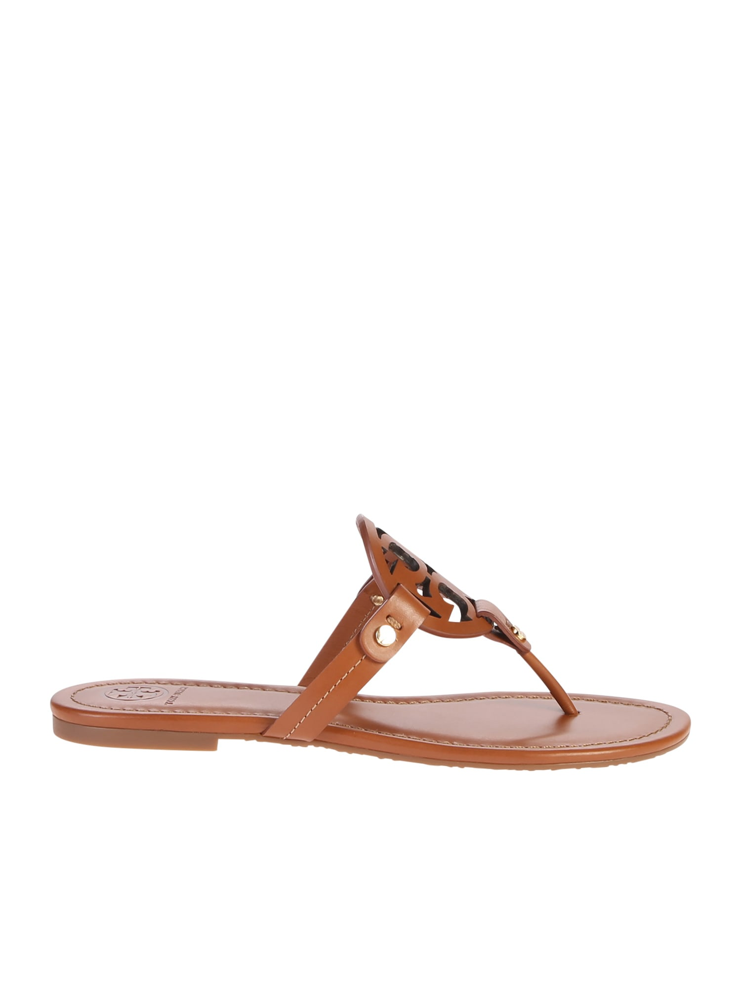 Buy Tory Burch Brown Miller Sandals online, shop Tory Burch shoes with free shipping