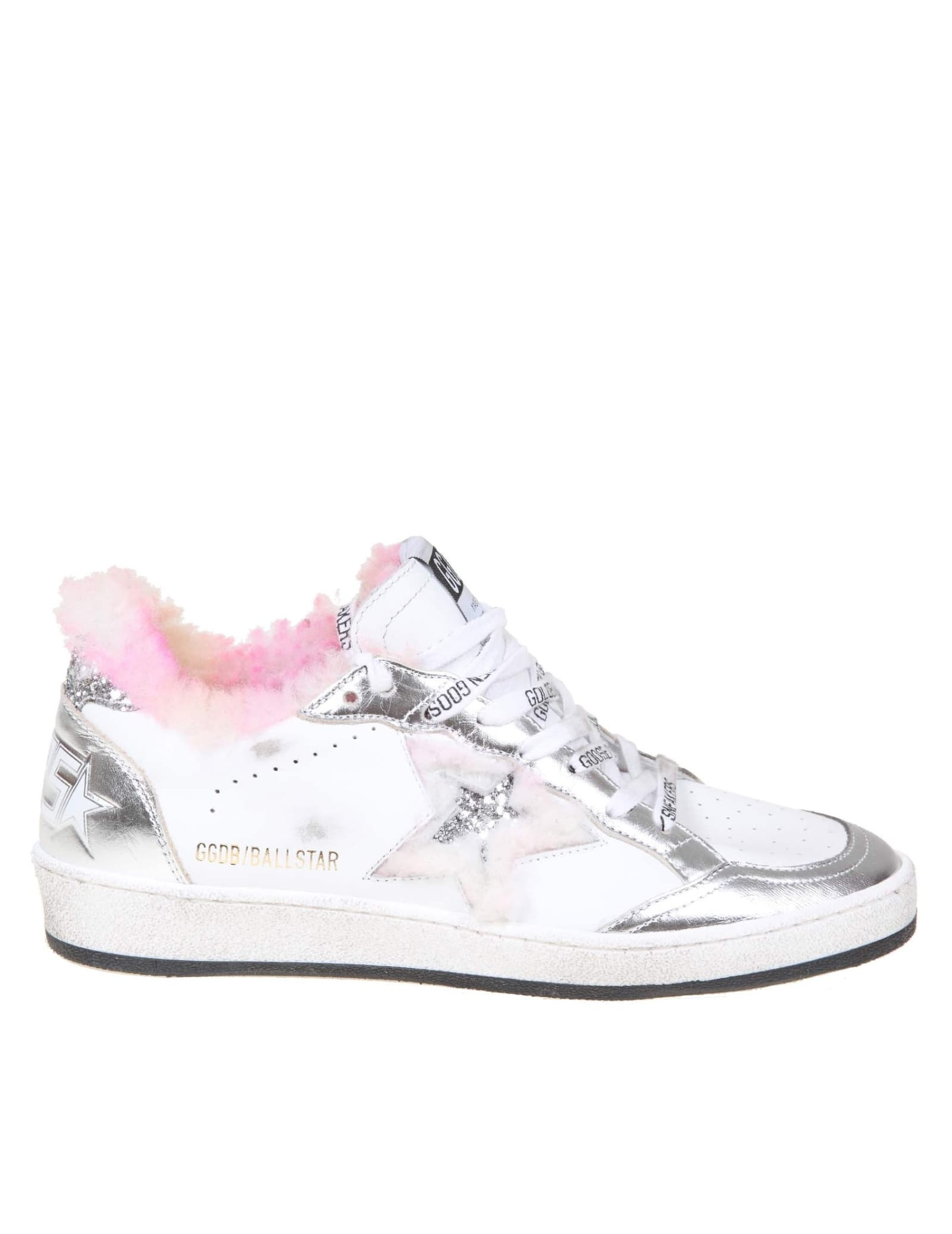 Golden Goose Ballstar Sneakers In Leather And Shearling