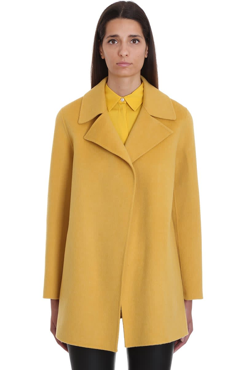 Theory Coat In Yellow Wool