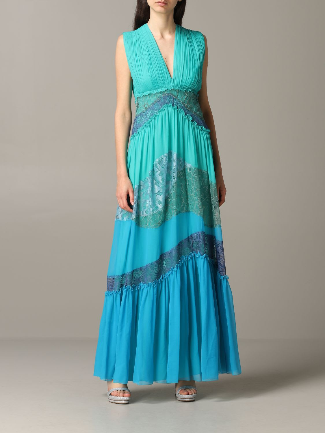 Buy Alberta Ferretti Dress Alberta Ferretti Maxi Dress In Chiffon And Lace online, shop Alberta Ferretti with free shipping