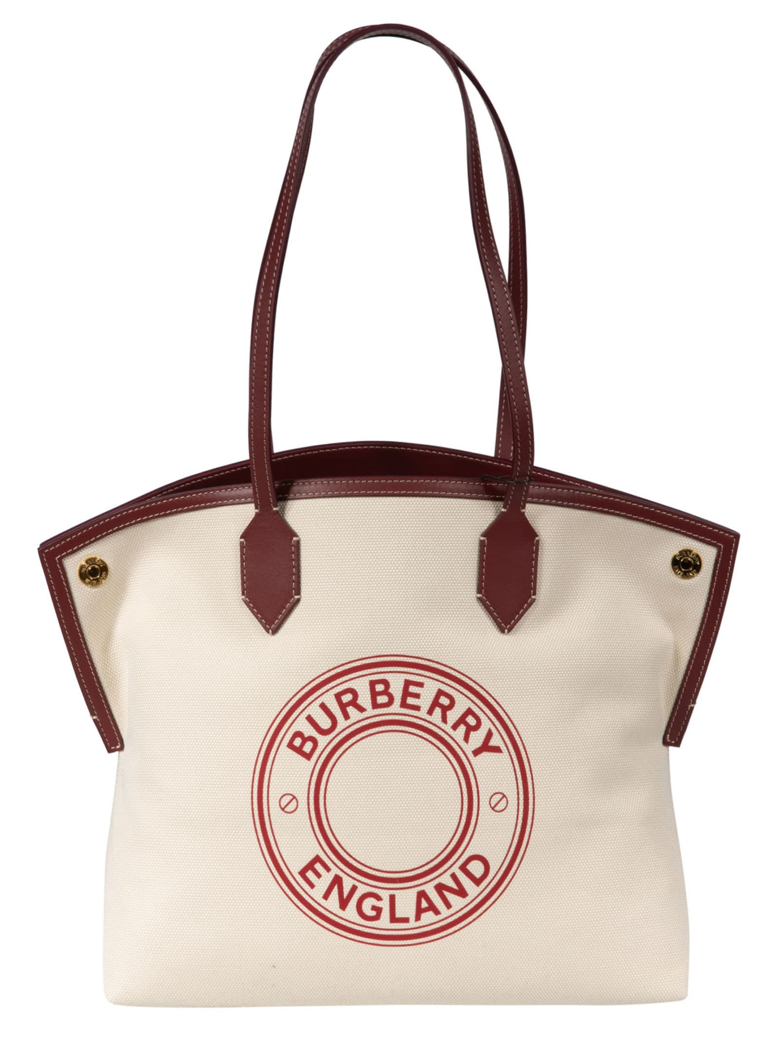 Burberry Logo Print Tote In White/red