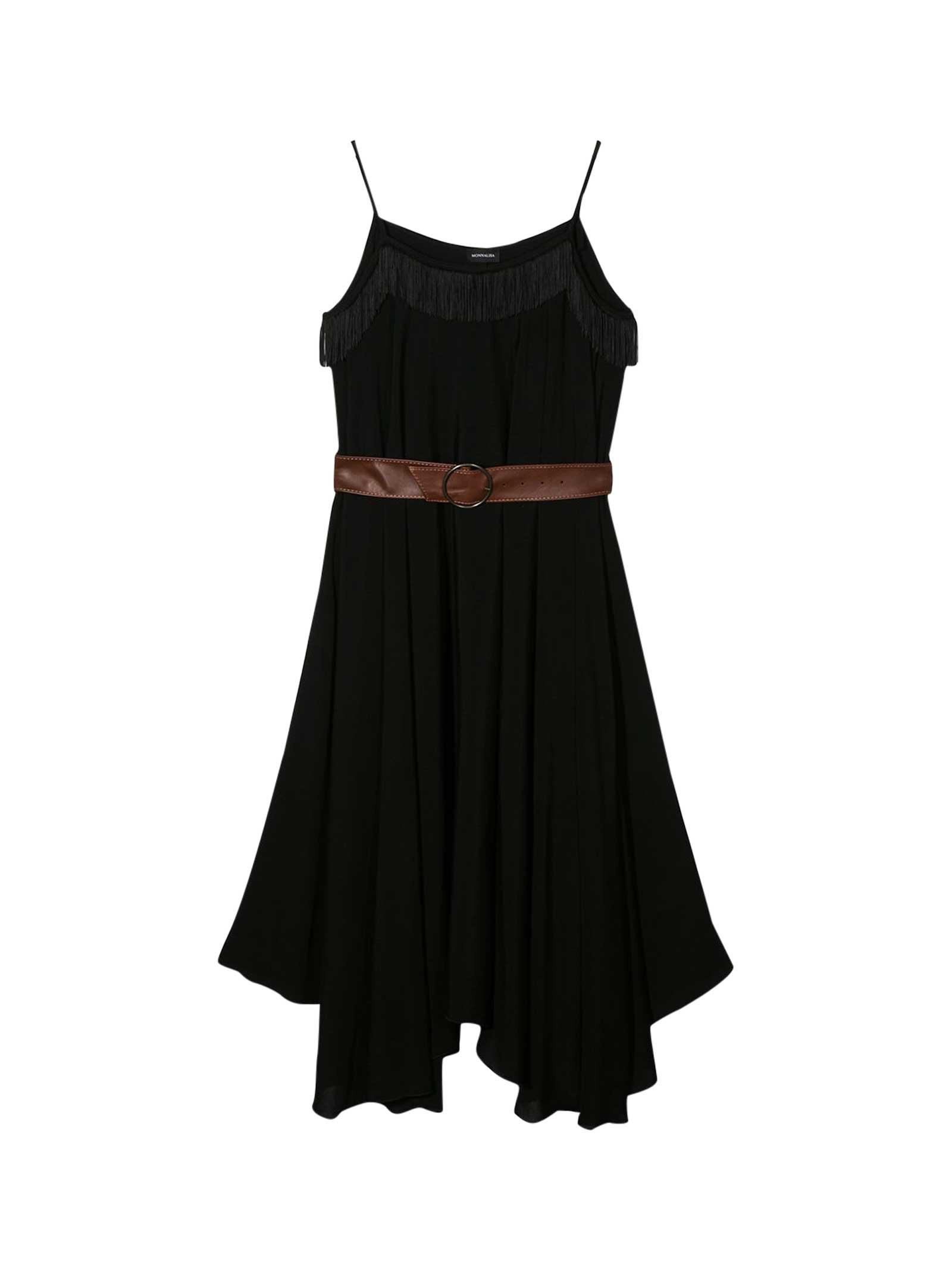 Buy Monnalisa Long Black Dress With Belt online, shop Monnalisa with free shipping