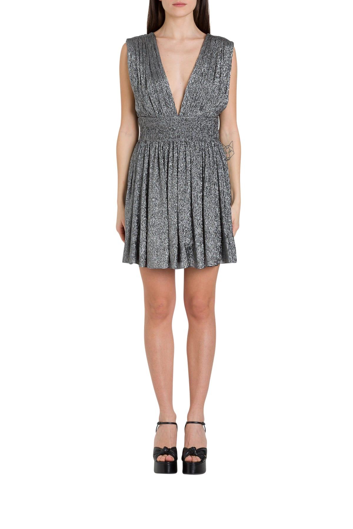 Buy Saint Laurent Pleated Silk Lamé Dress online, shop Saint Laurent with free shipping