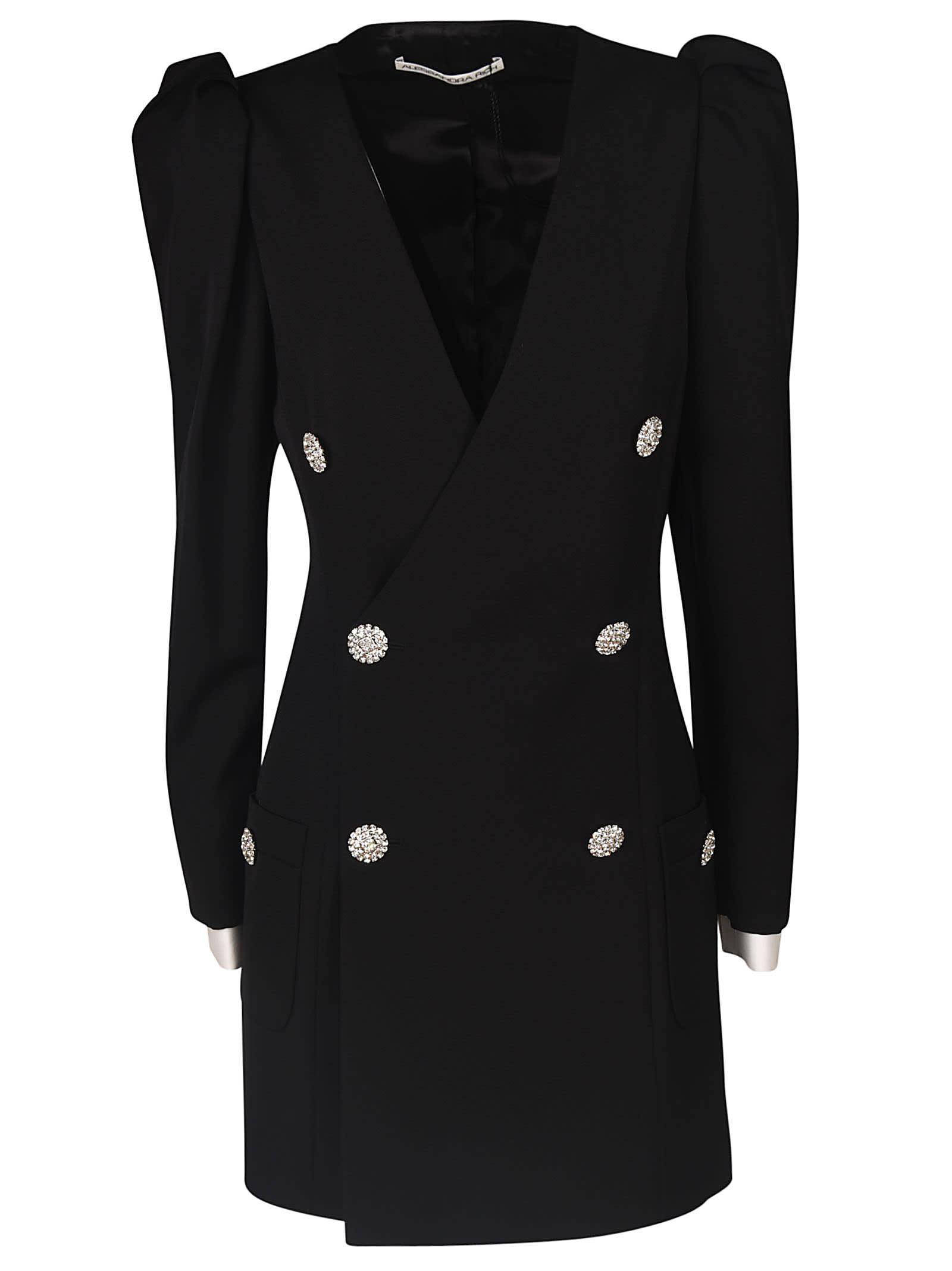 Alessandra Rich V-neck Double Breasted Short Dress
