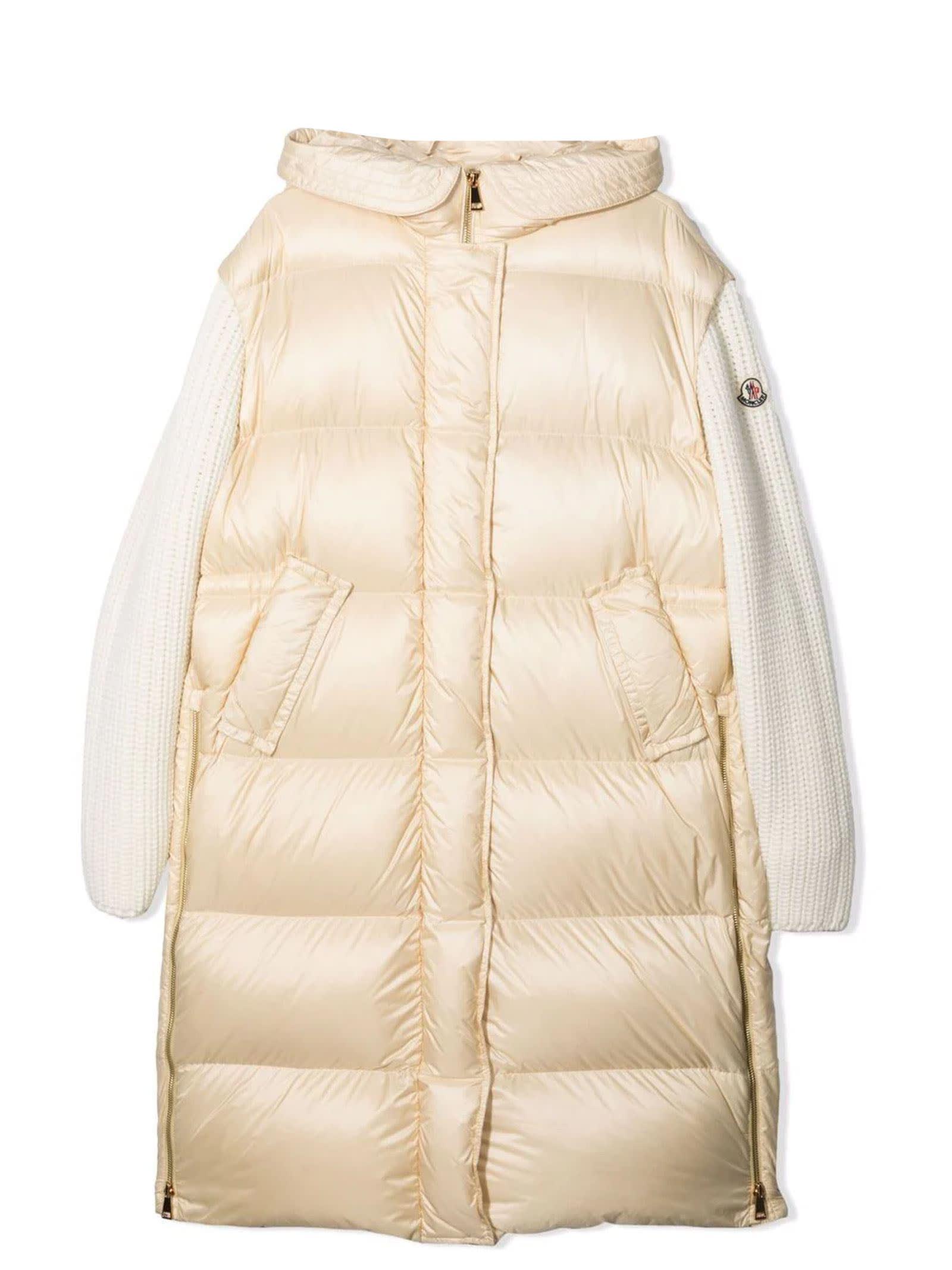 Moncler Cream Vigin Wool-blend Coat