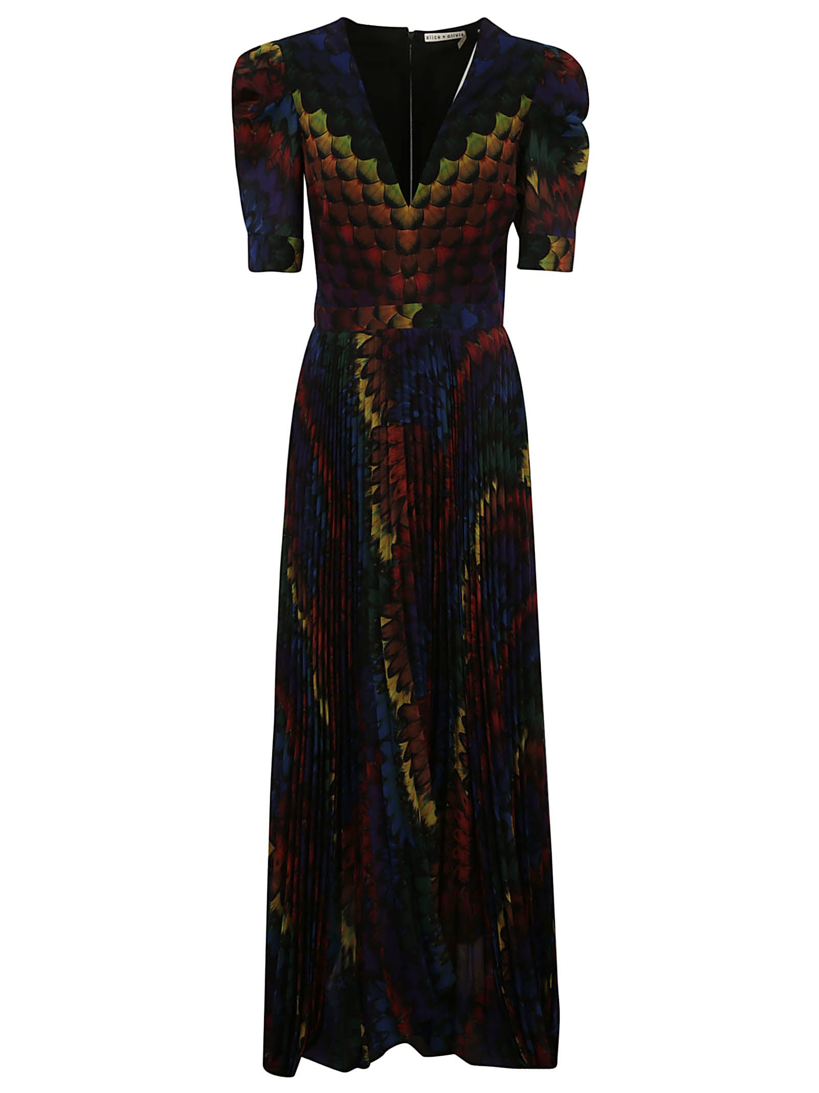 Buy Alice + Olivia Long Colorful Back-zipped Dress online, shop Alice + Olivia with free shipping