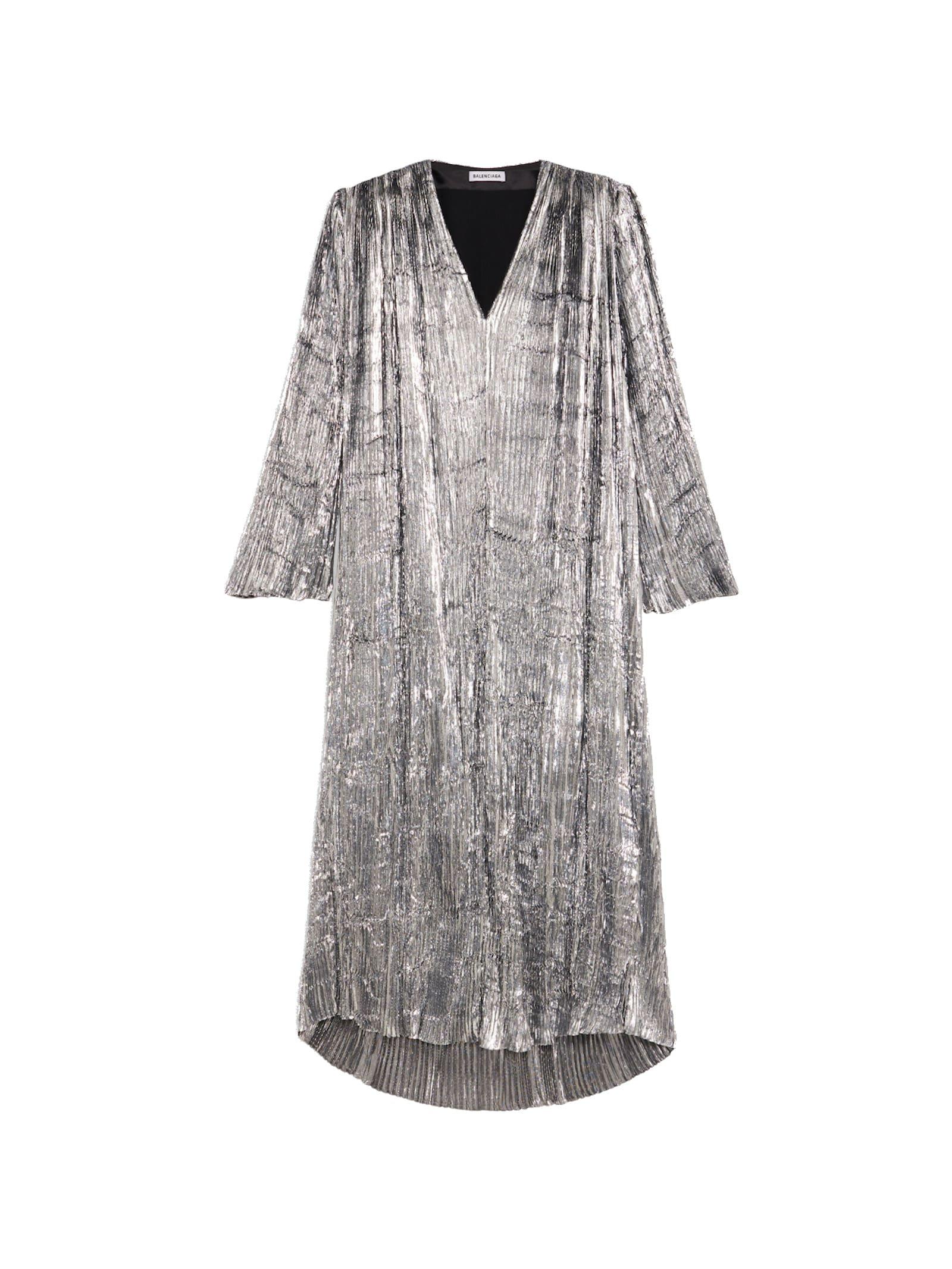 Buy Balenciaga Pleated Dress Long Lurex online, shop Balenciaga with free shipping