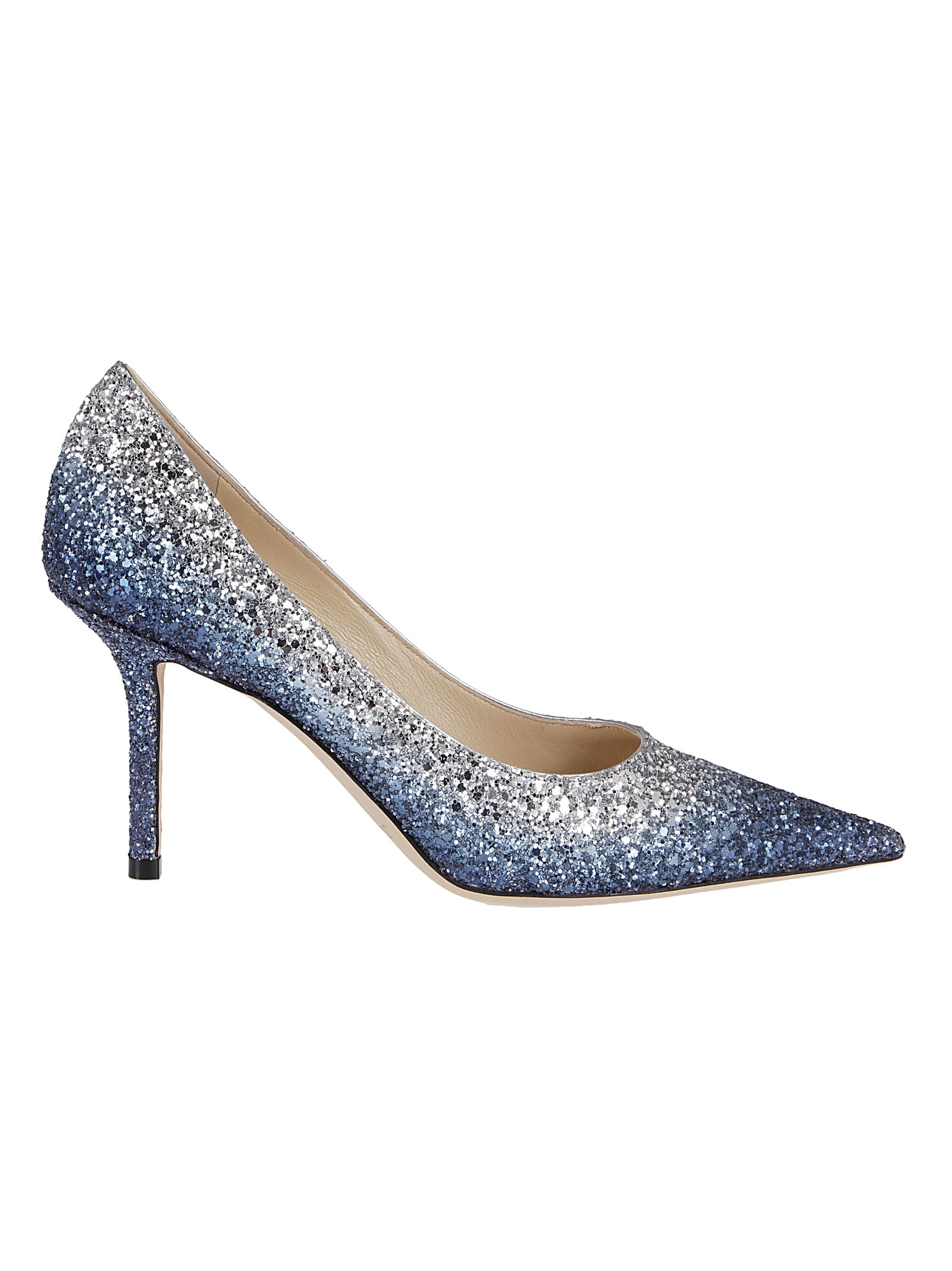 Jimmy Choo DENIM AND SILVER GLITTER LOVE 85 PUMPS