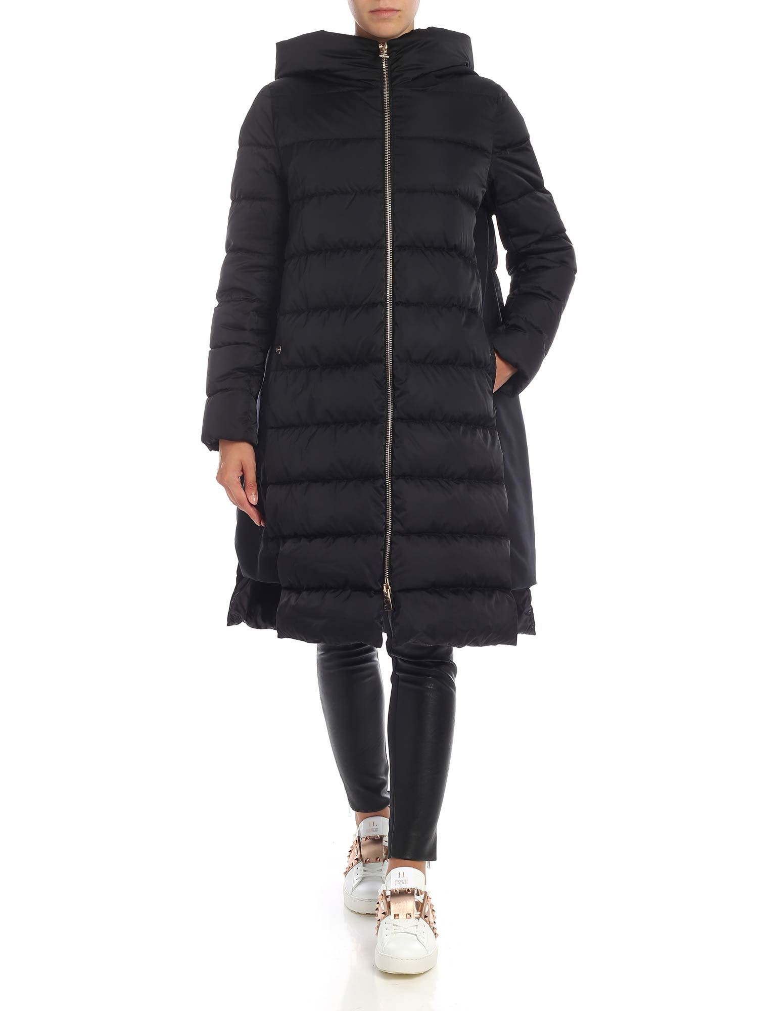 Herno Hooded Down Jacket With Contrast Inserts