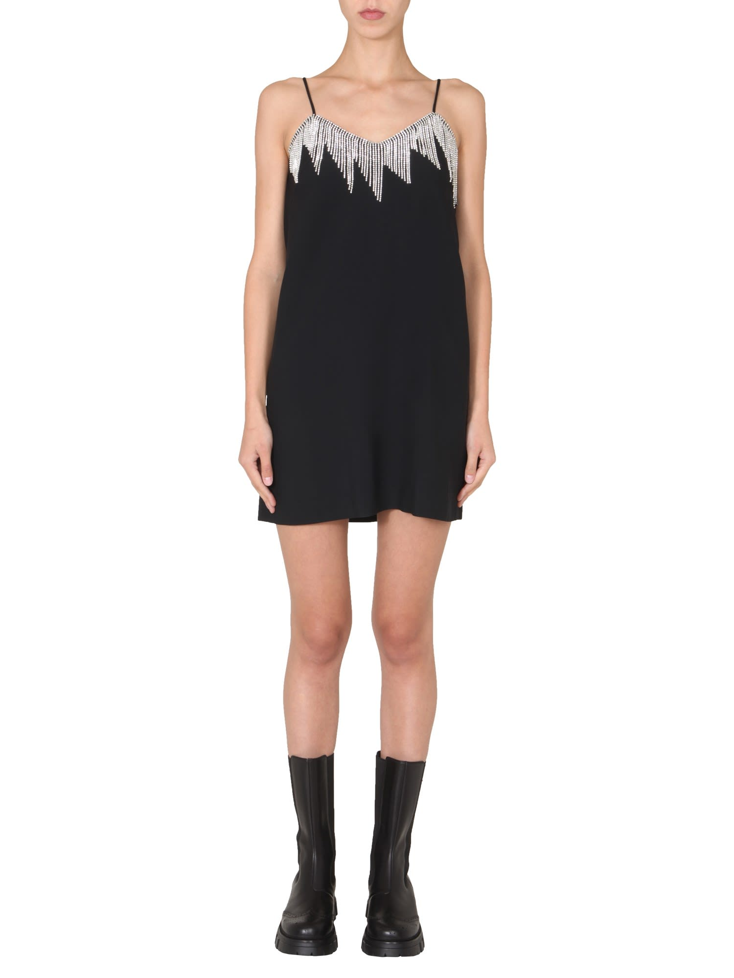 Msgm DRESS WITH CRYSTAL FRINGES