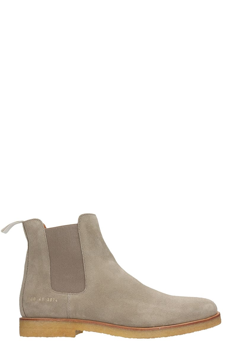 Common Projects CHELSEA BOOT LOW HEELS ANKLE BOOTS IN TAUPE SUEDE