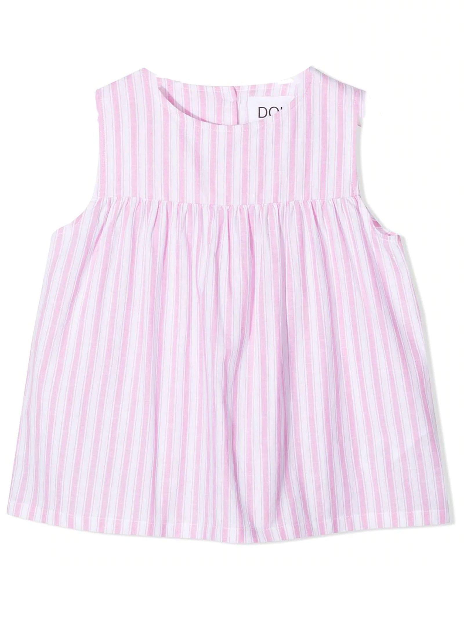 Pink Cotton-linen Blend Blouse