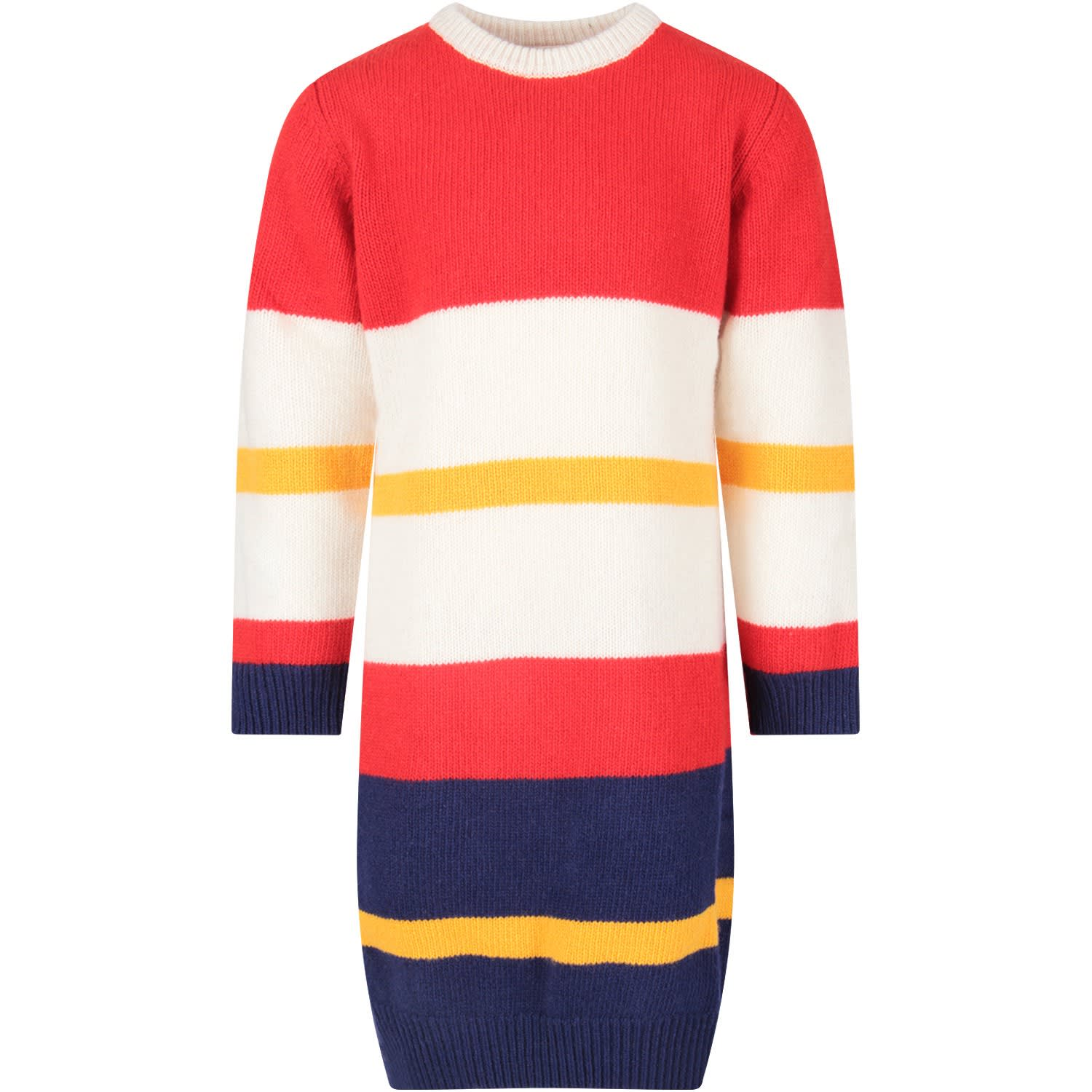 Marni Multicolor Girl Dress With Blue Logo