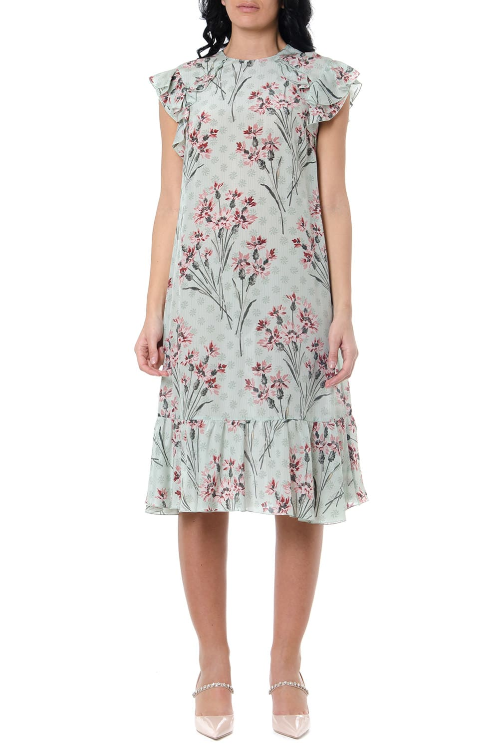 Buy RED Valentino Crepe De Chine Multicolor Floral Print Dress online, shop RED Valentino with free shipping