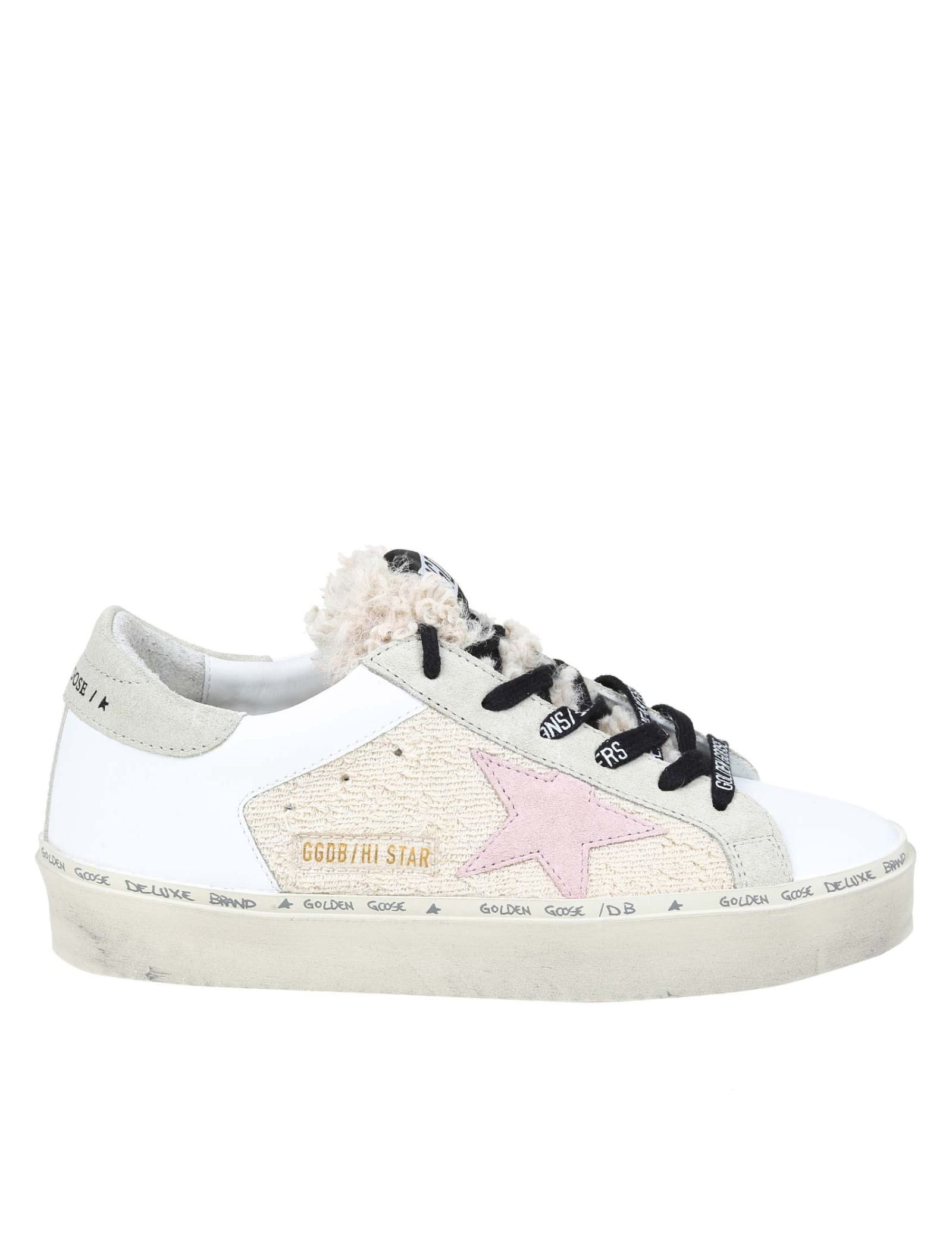 Golden Goose Hi Star Sneakers In Leather And Fabric