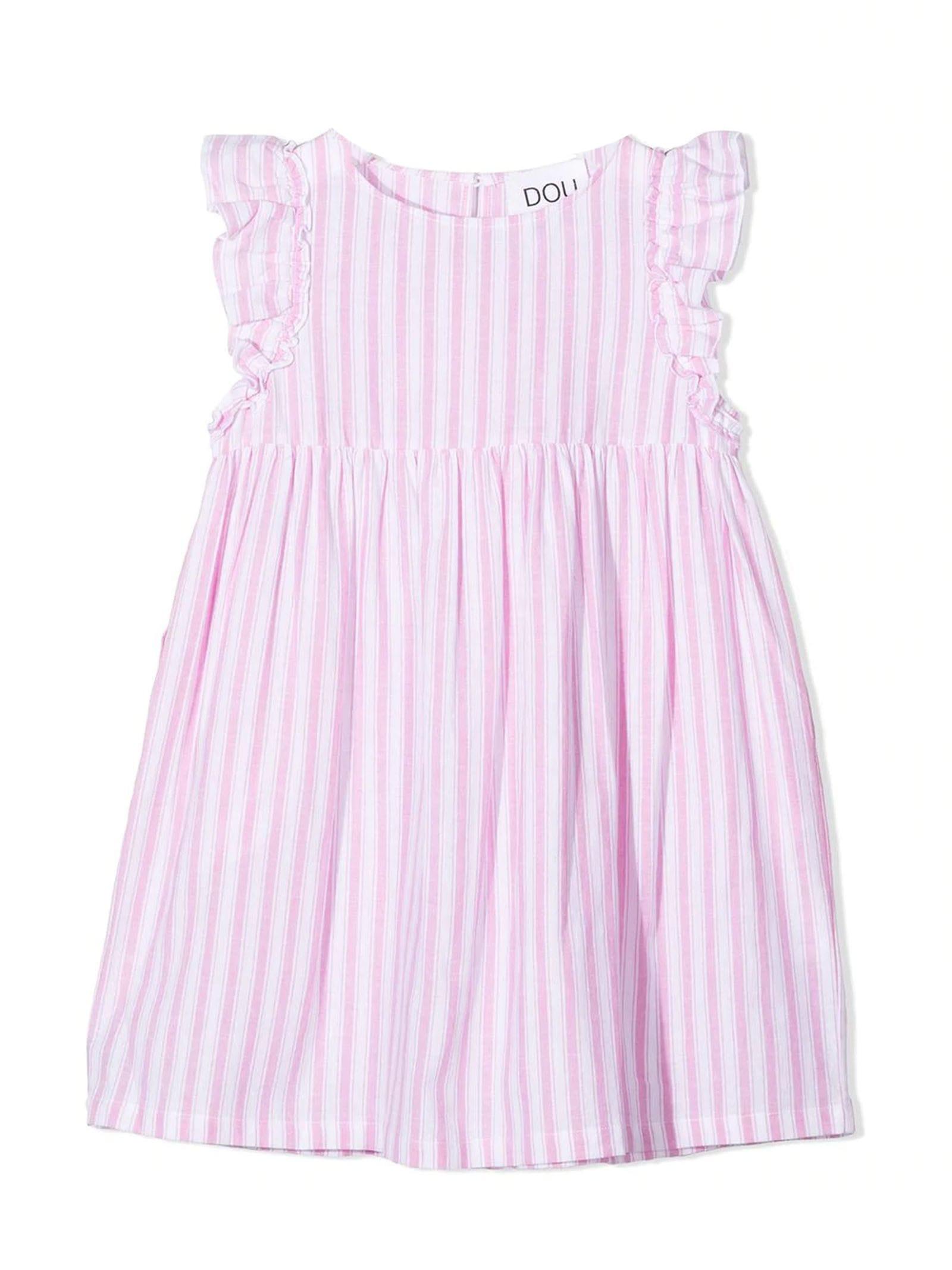 Pink Cotton-linen Blend Dress