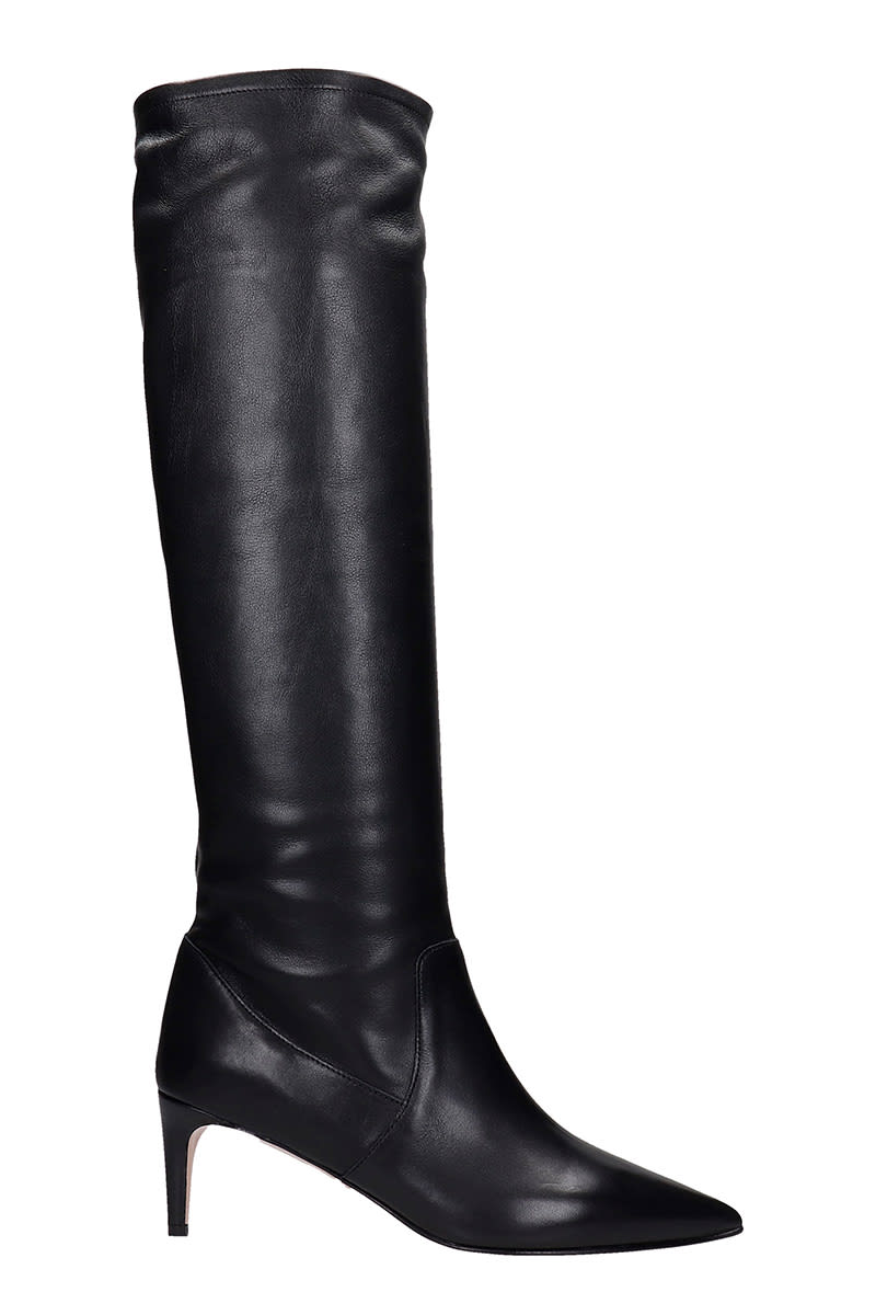 High heels boots in black leather, pointed toe, slip on, heel 75mmComposition: Leather