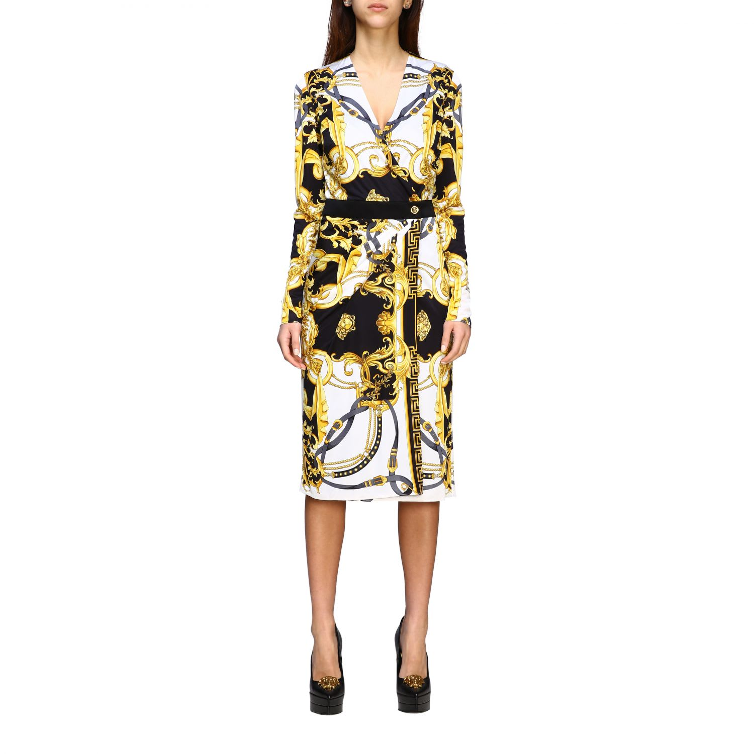 Buy Versace Dress Versace Jersey Dress With Baroque Print online, shop Versace with free shipping