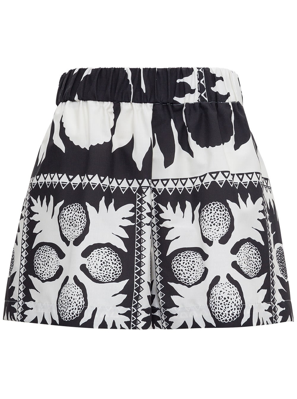 Red Valentino COTTON BLEND SHORTS WITH DAMIER FLOWERS PRINT