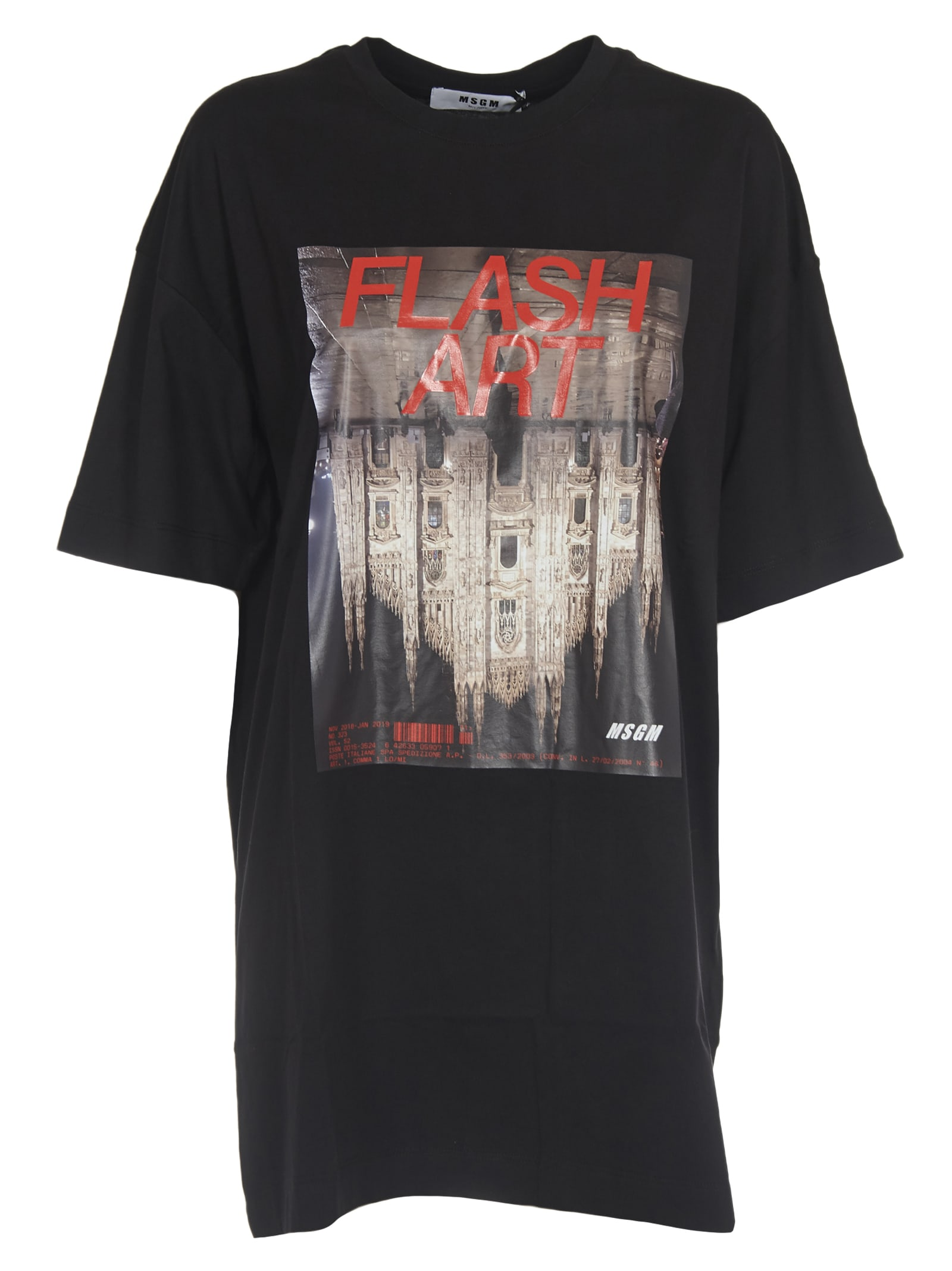MSGM Cotton T-shirt Dress With flash Art Print