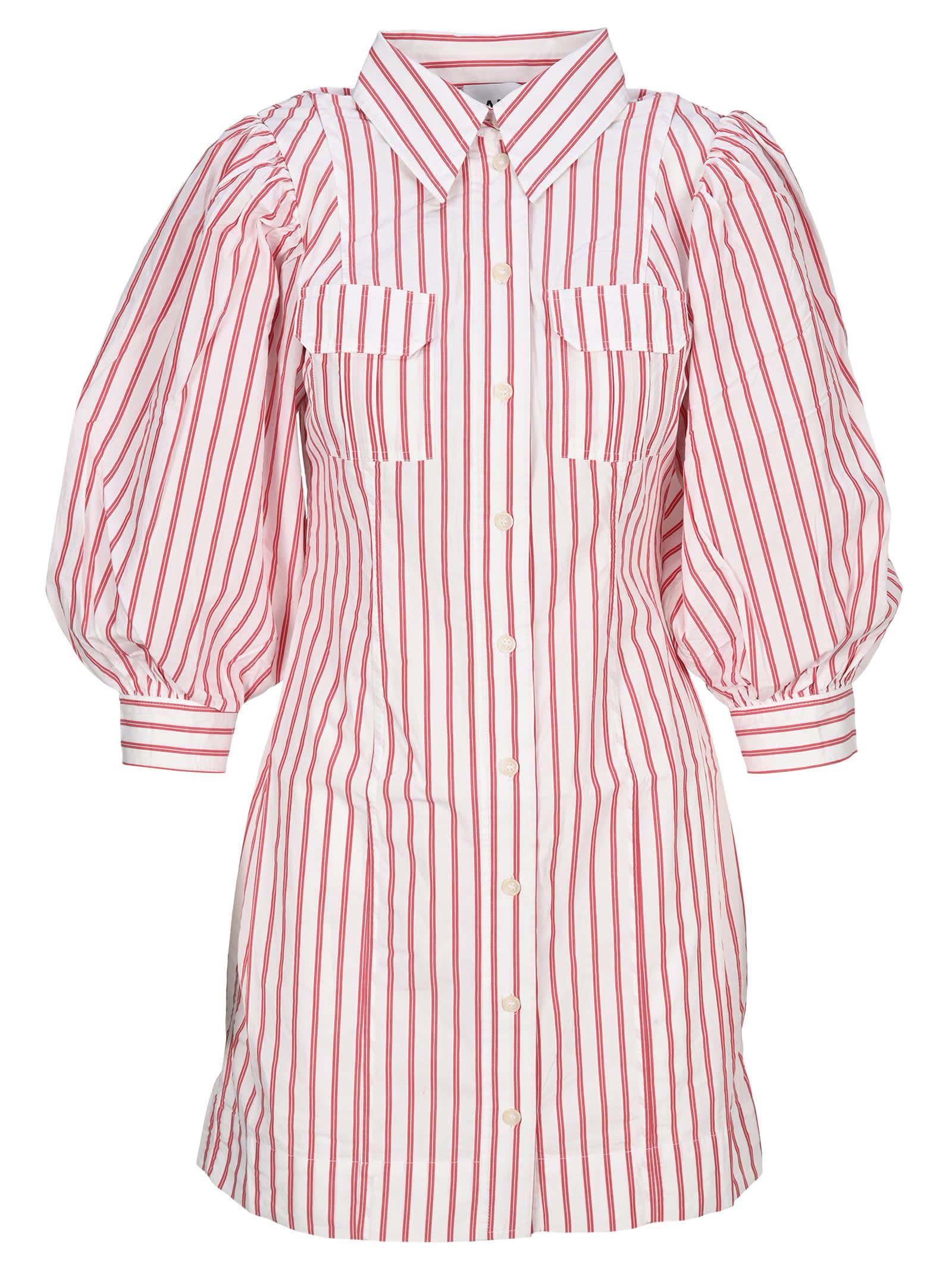 Buy Ganni Stripe Cotton Mini Dress online, shop Ganni with free shipping