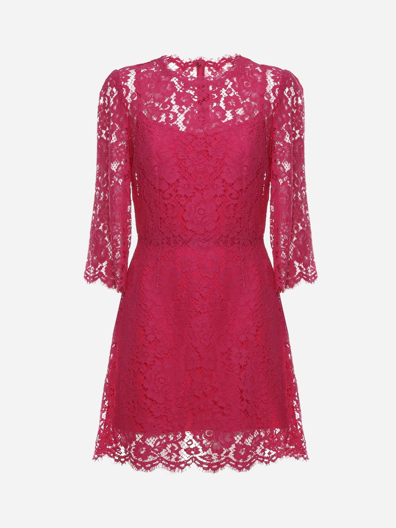 Dolce & Gabbana SHORT DRESS MADE OF CORDONETTO LACE