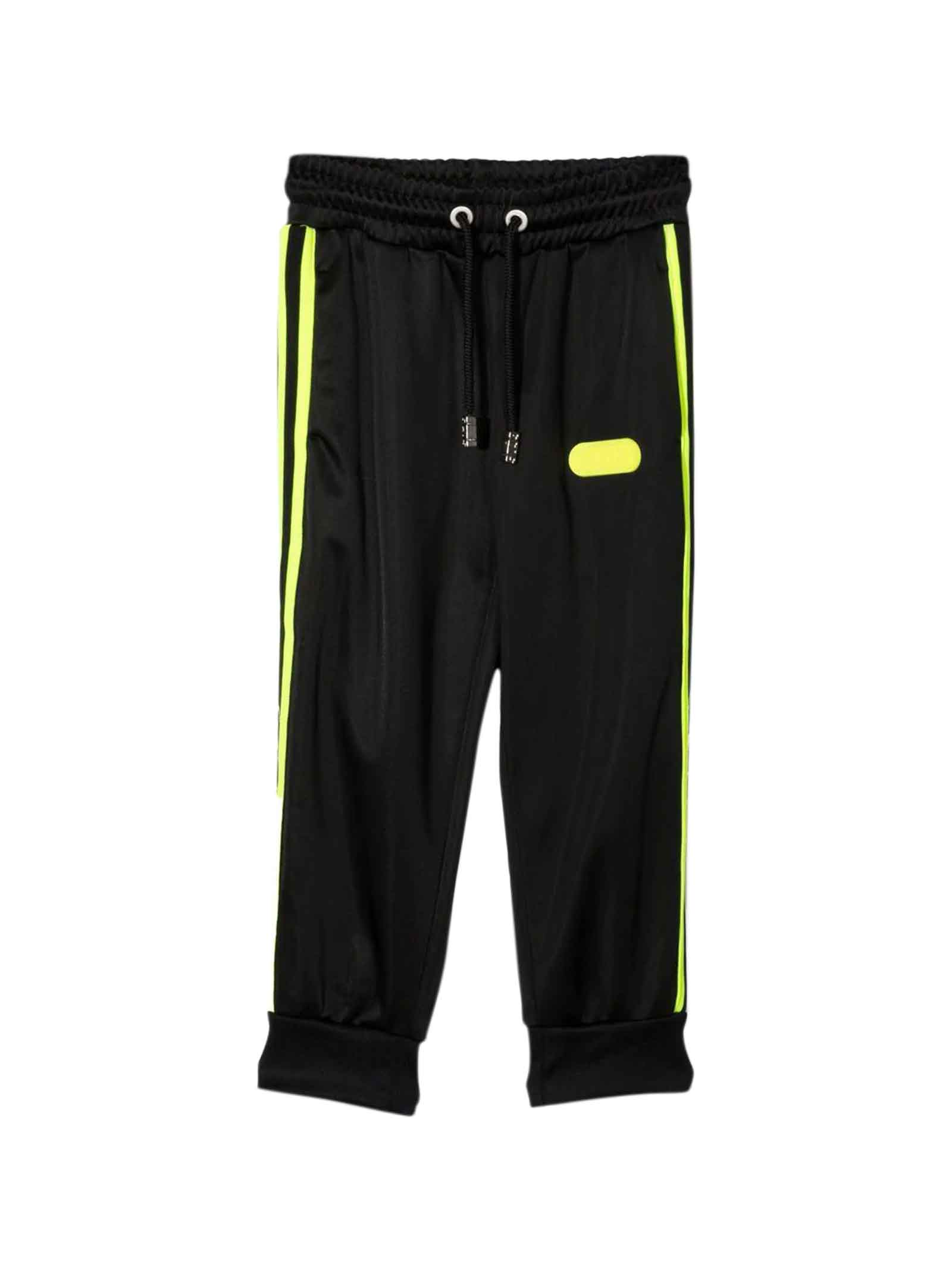 Black Trousers With Yellow Side Band