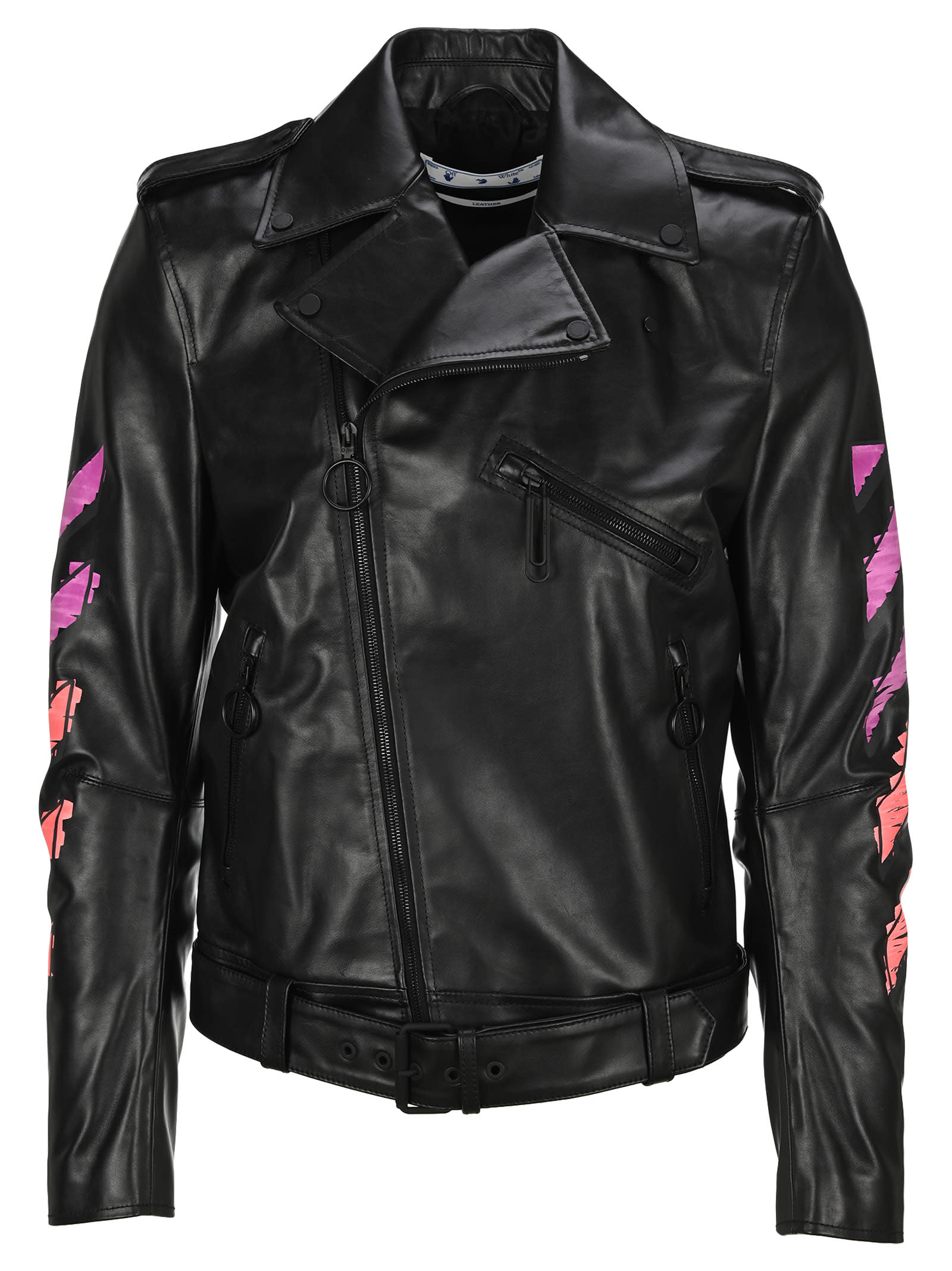 OFF-WHITE OFF WHITE ARROW PRINTED LEATHER JACKET