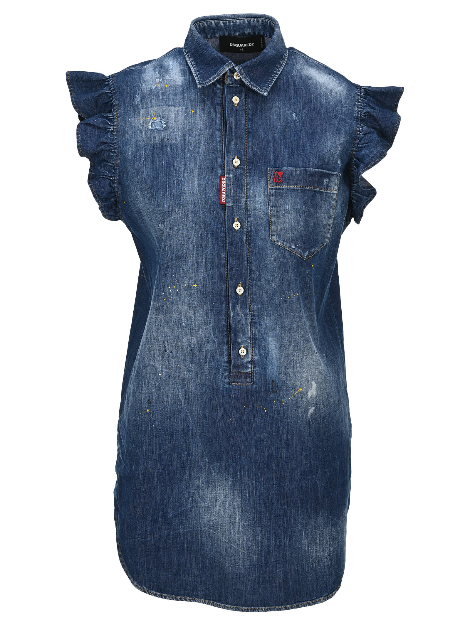 Buy D Squared Denim Mini Dress online, shop Dsquared2 with free shipping